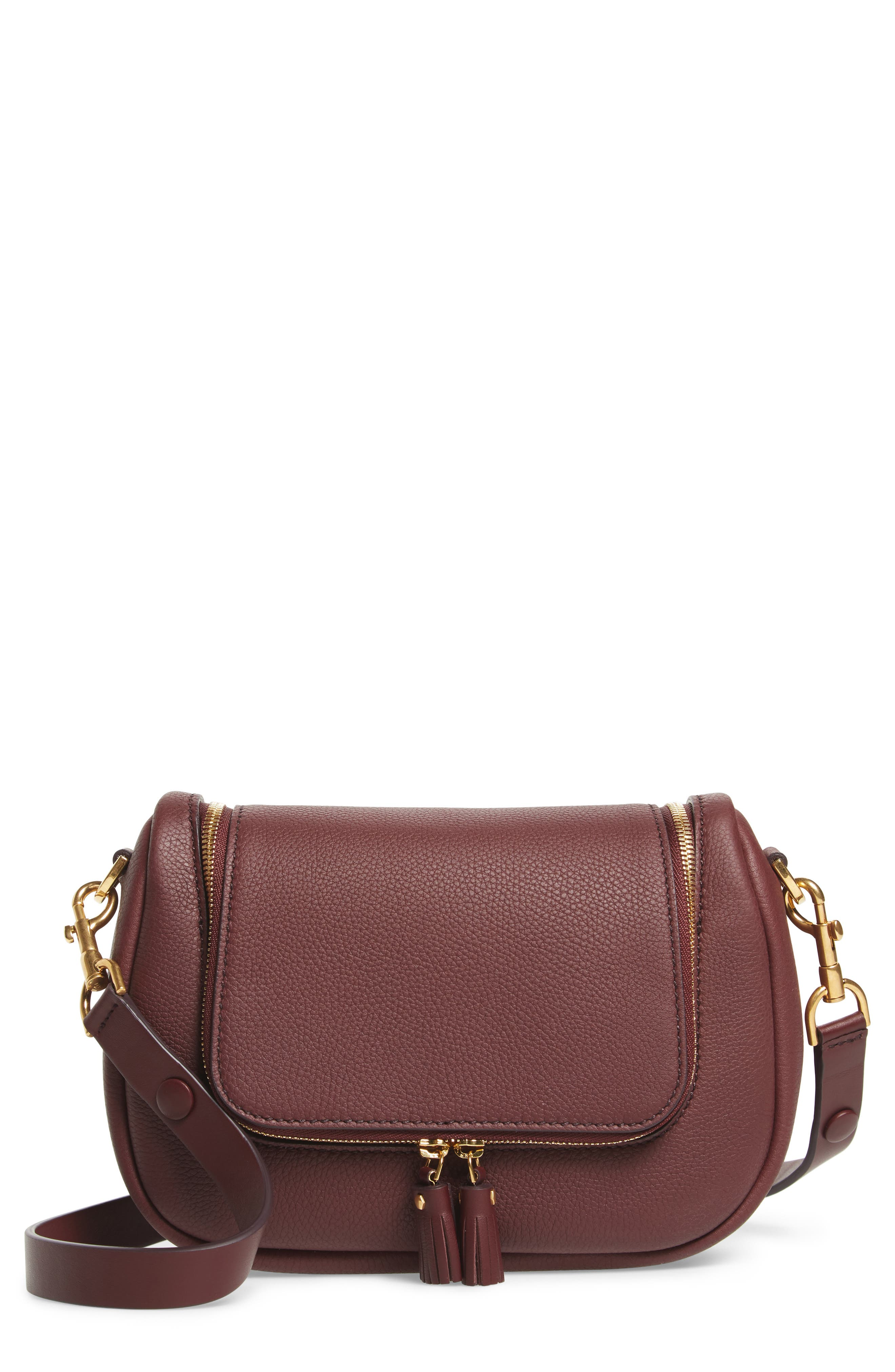 Small Vere Leather Crossbody Satchel,                         Main,                         color, CLARET