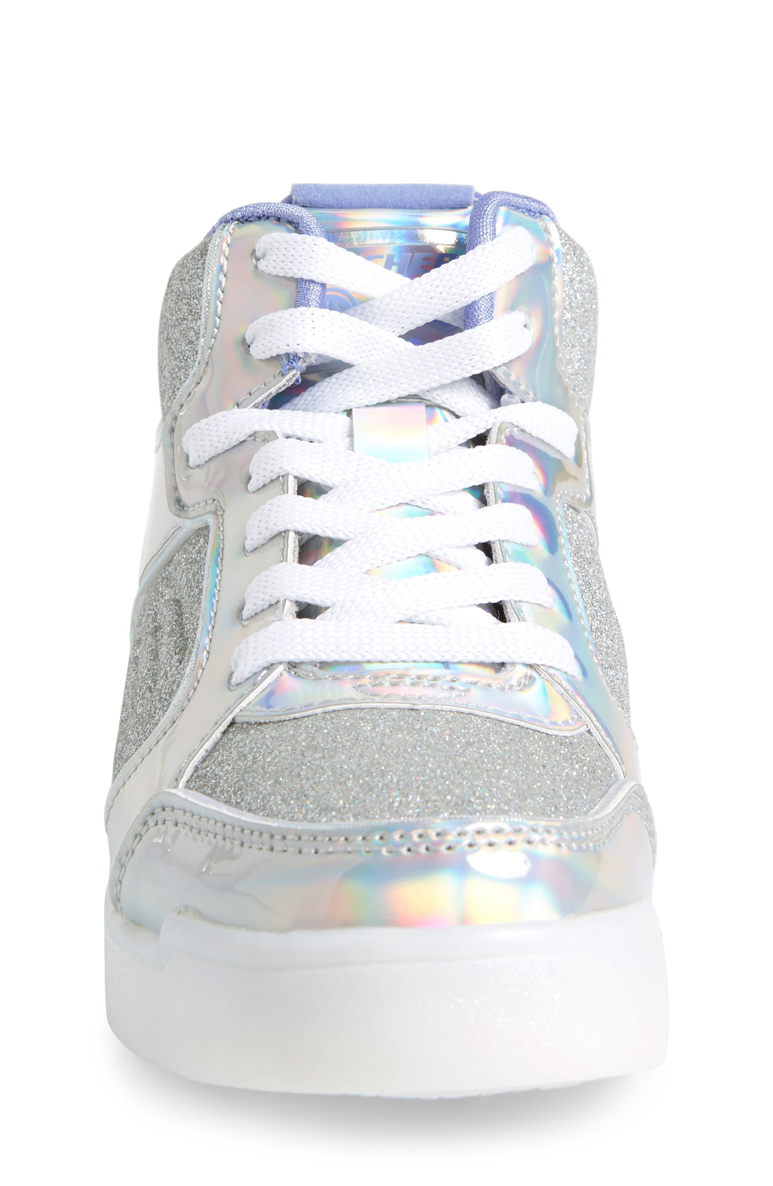 SKECHERS,                             Energy Lights Pro Ultra Light-Up Sneaker,                             Alternate thumbnail 4, color,                             SILVER