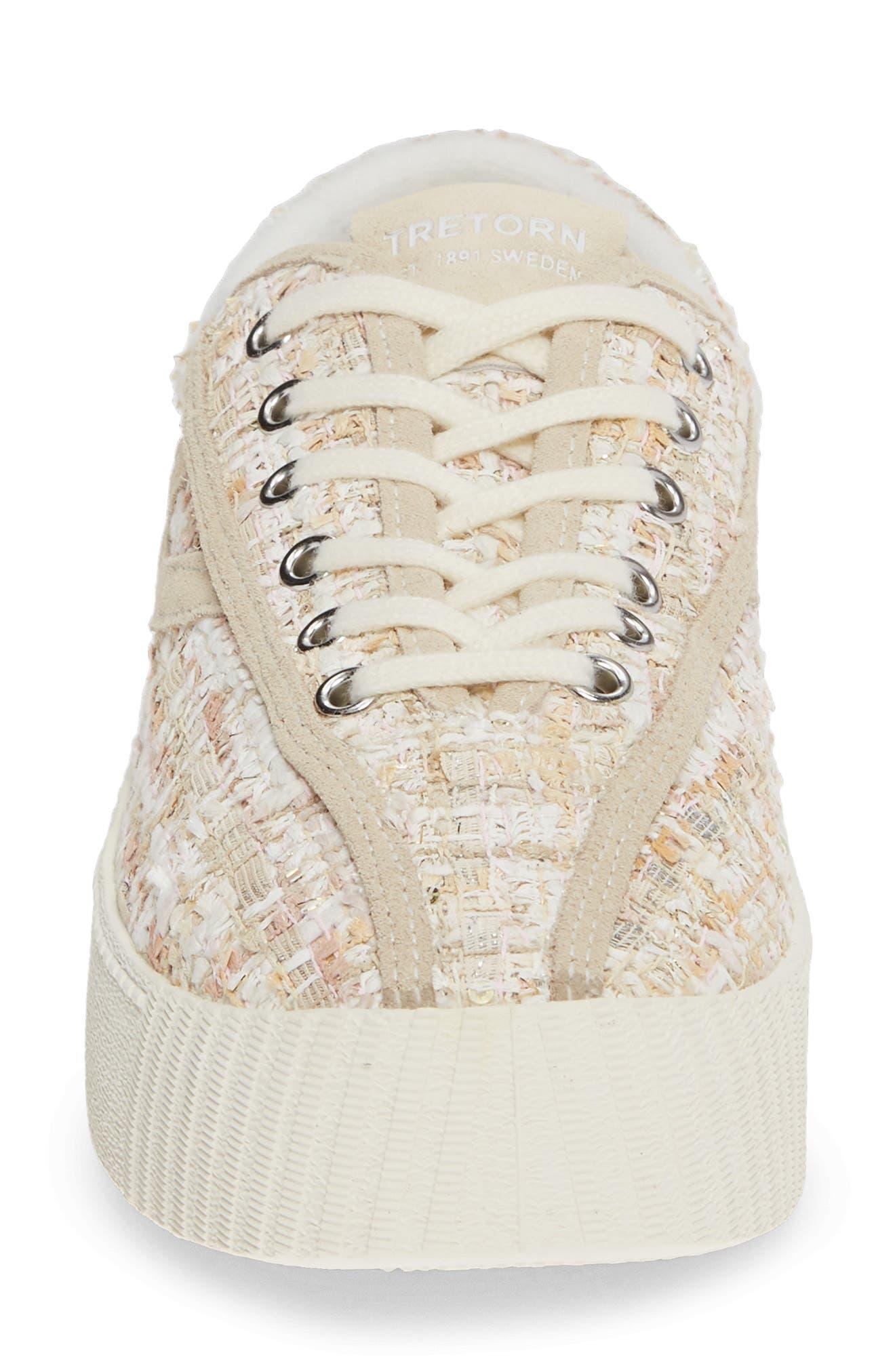 Bold Perforated Platform Sneaker,                             Alternate thumbnail 4, color,                             ROSADO/ CREAM