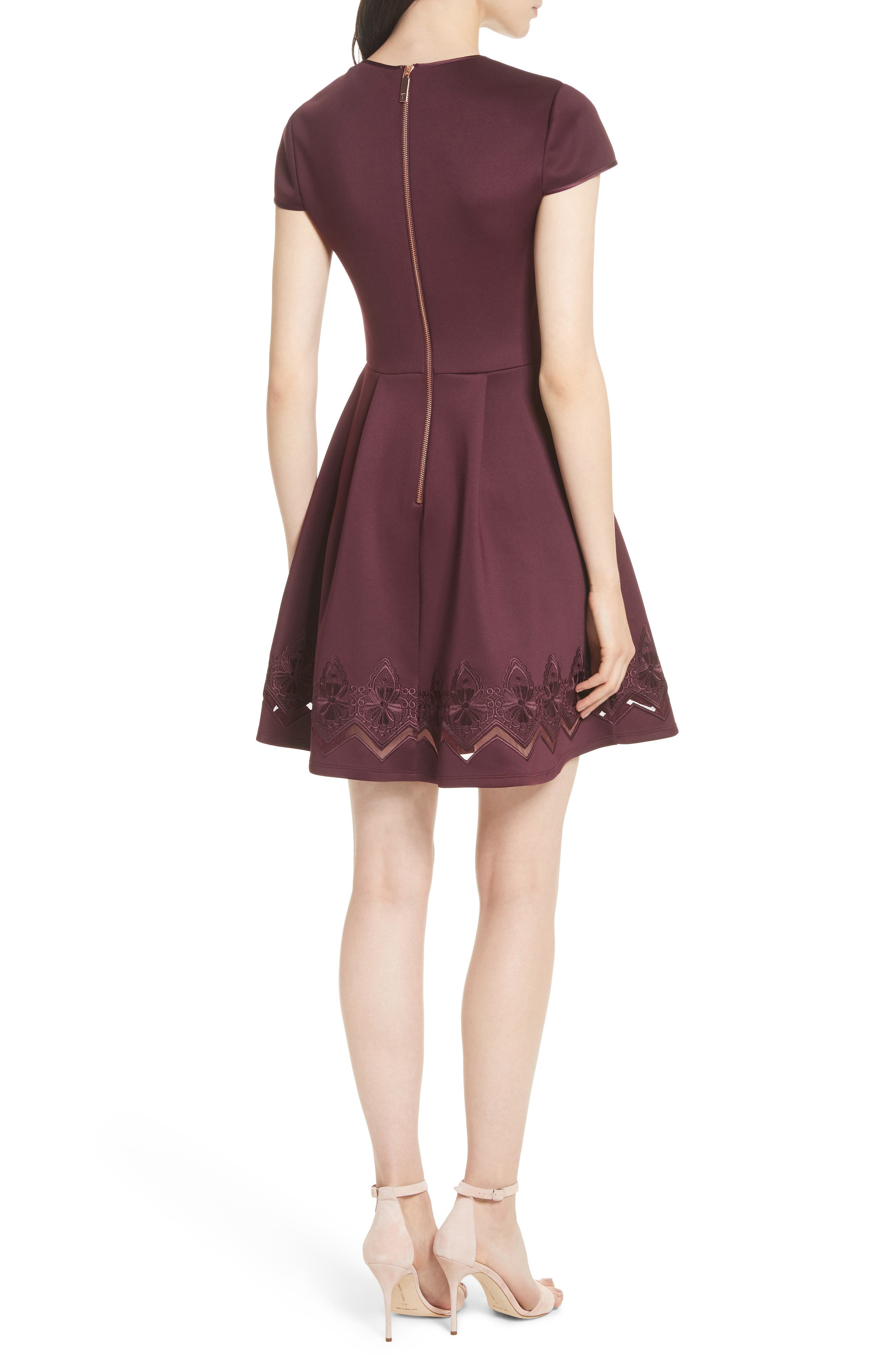 Mesh & Lace Trim Skater Dress,                             Alternate thumbnail 4, color,