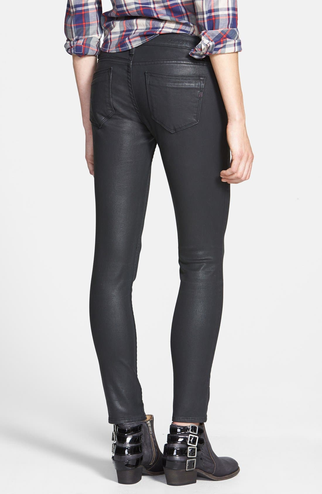Coated Skinny Jeans,                             Alternate thumbnail 3, color,                             001