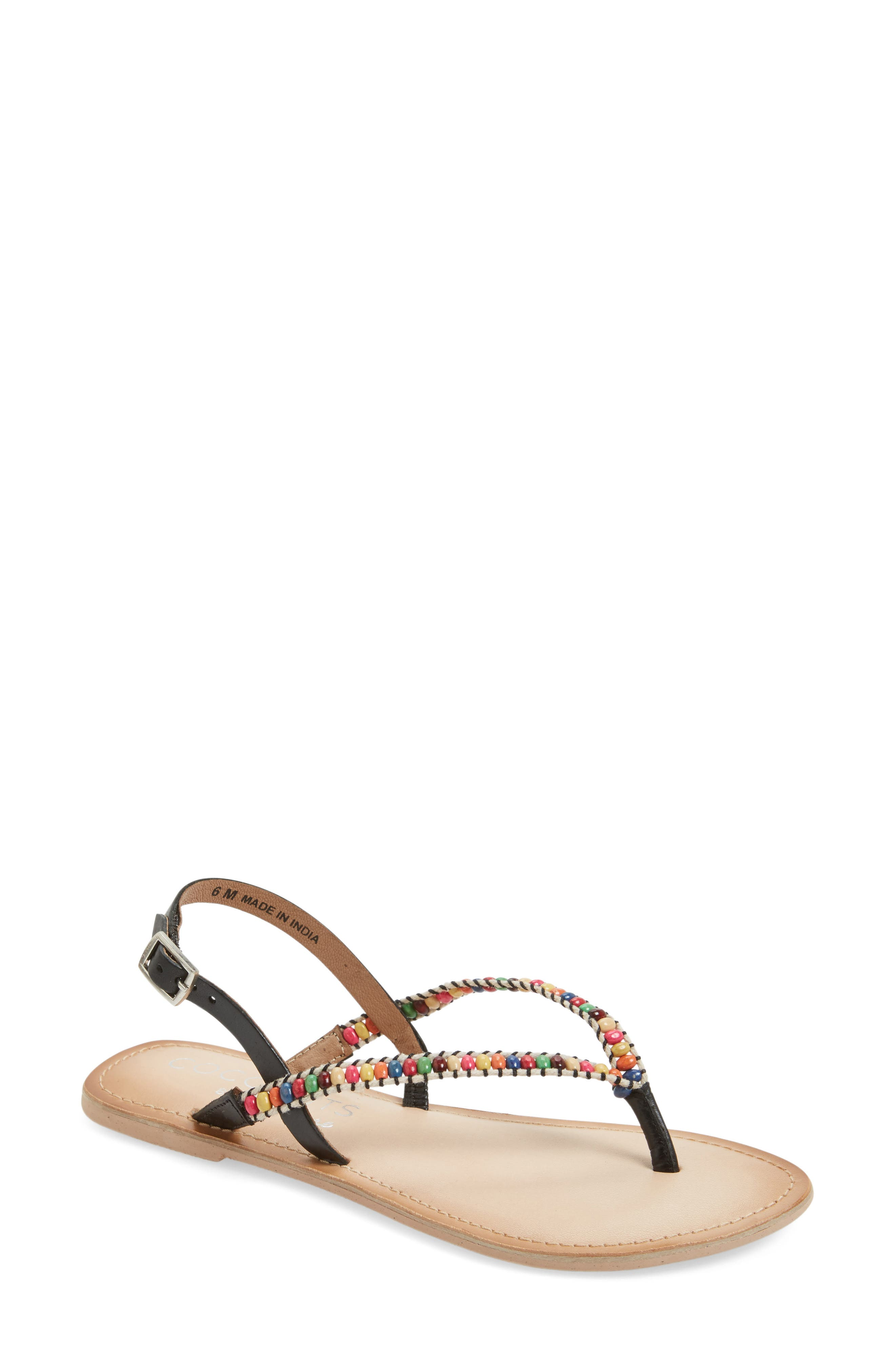 Coconuts by Matisse Celebration Beaded Sandal,                             Main thumbnail 1, color,                             001