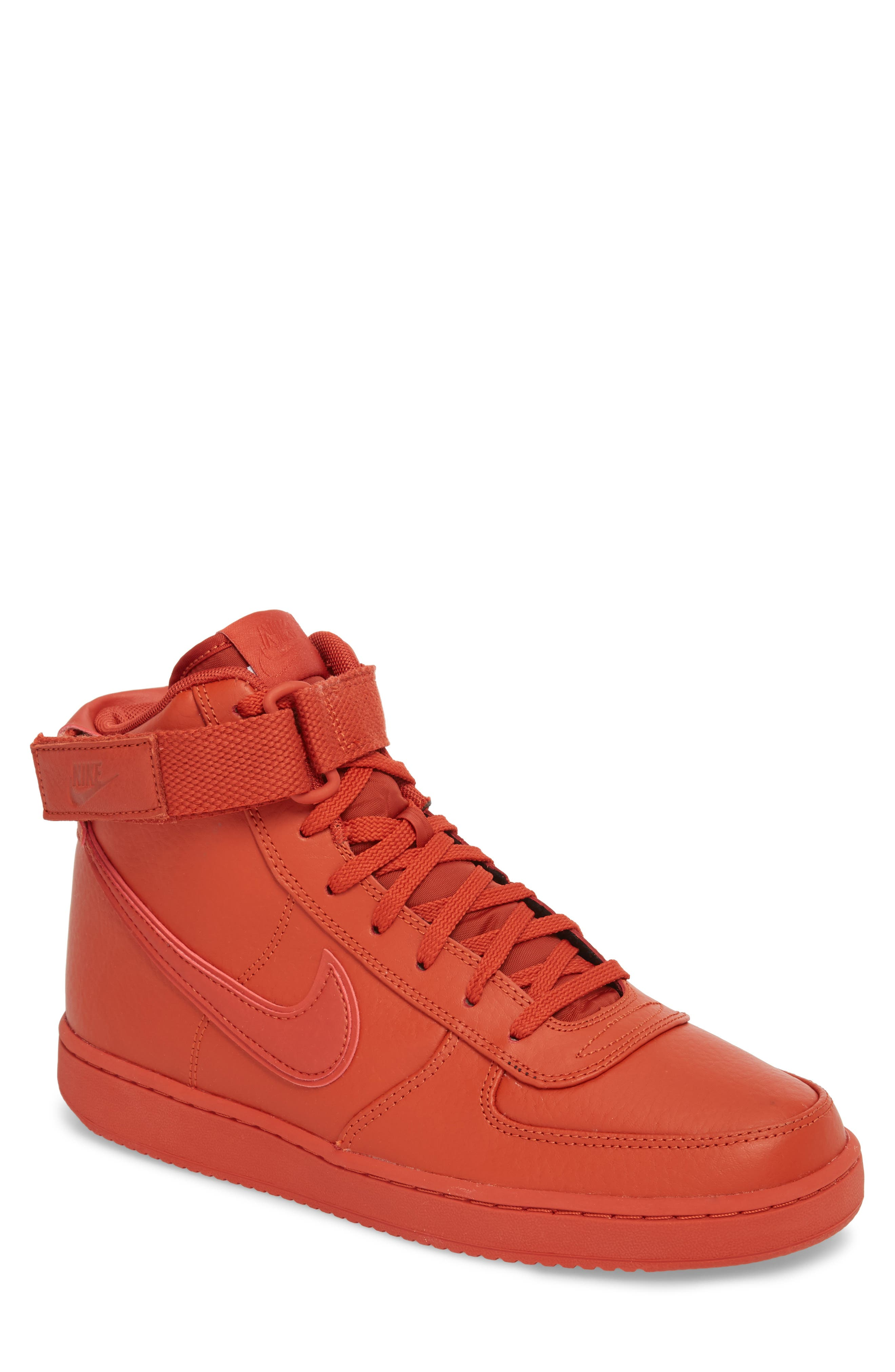 Vandal High Supreme Leather Sneaker,                             Main thumbnail 1, color,                             DRAGON RED
