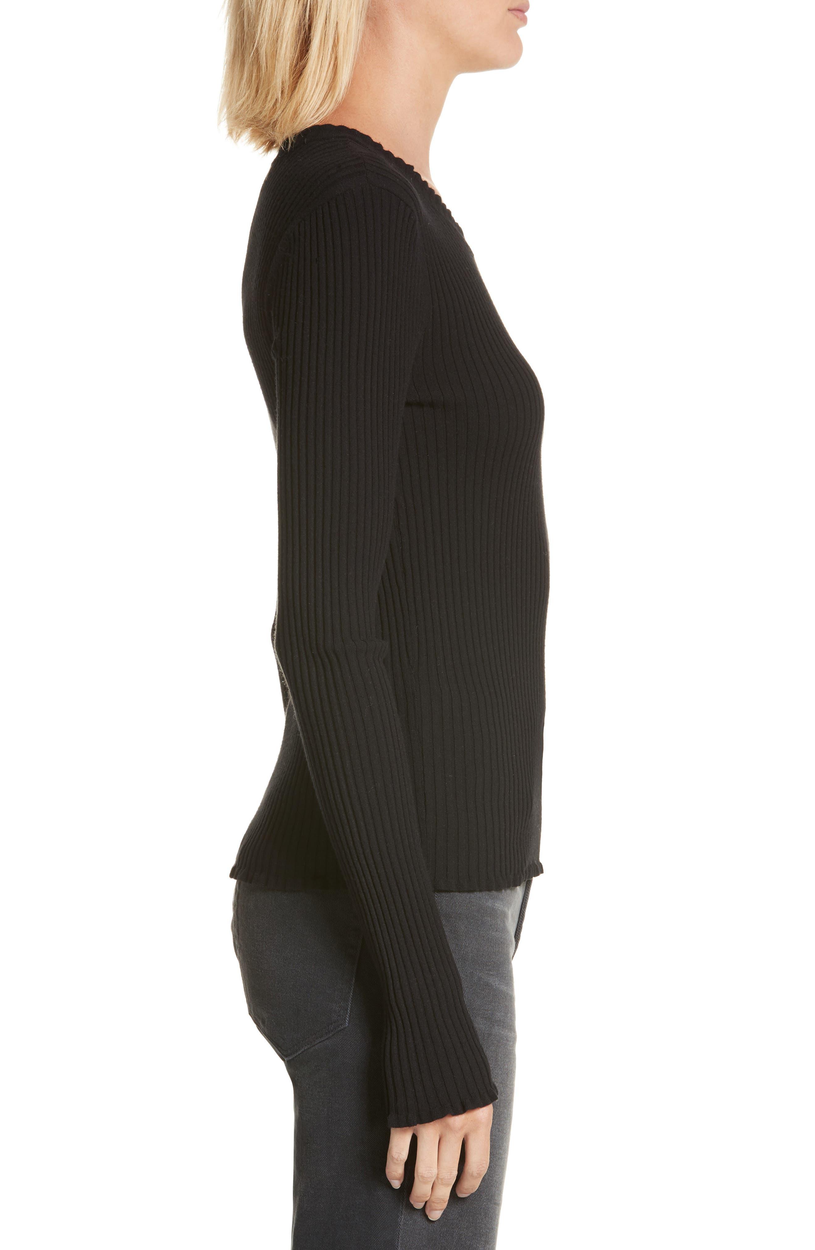 Rib Knit Scoop Neck Sweater,                             Alternate thumbnail 3, color,                             001