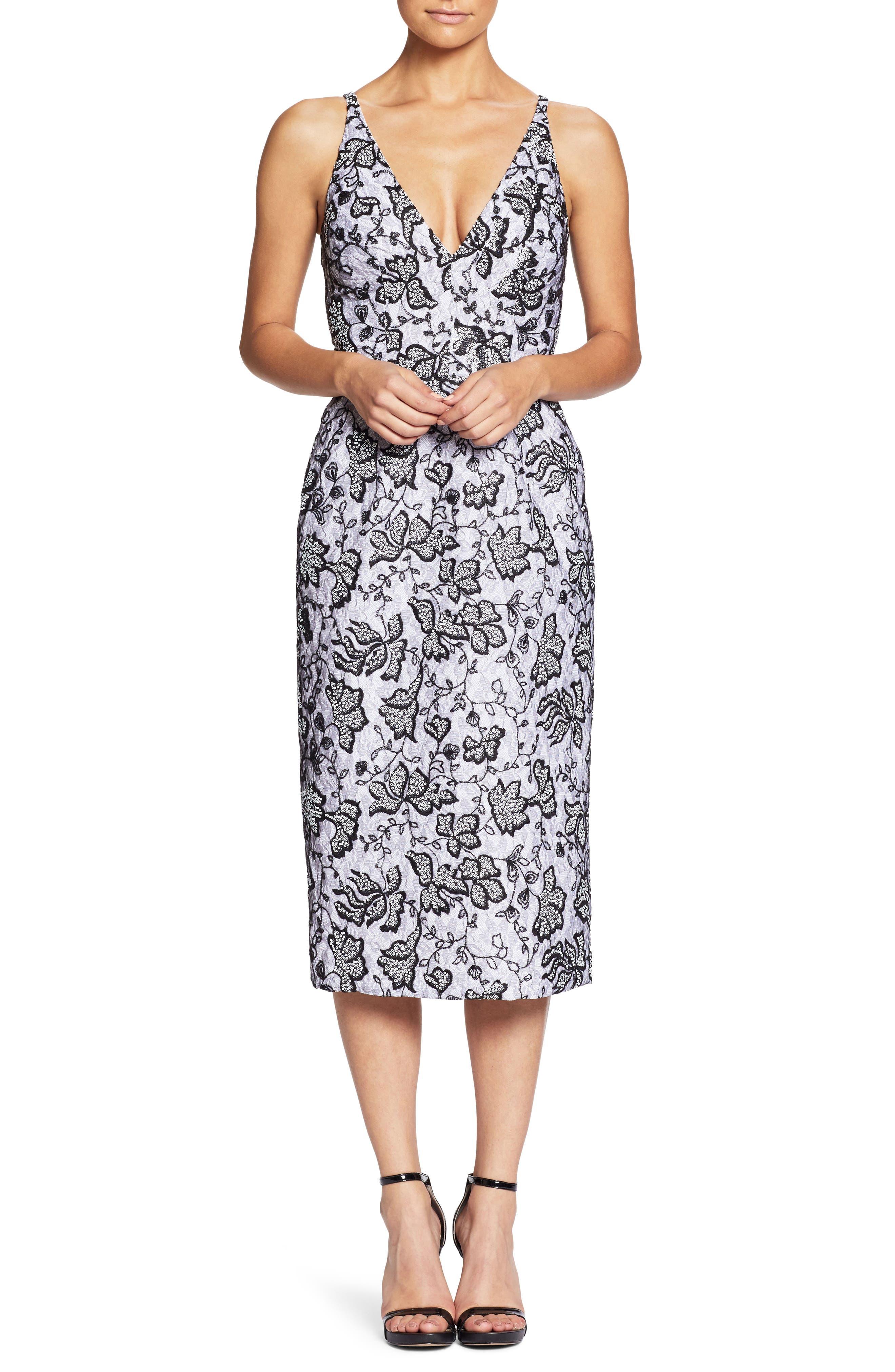 Nadia Plunge V-Neck Lace Dress,                             Main thumbnail 1, color,                             WHITE/ BLACK