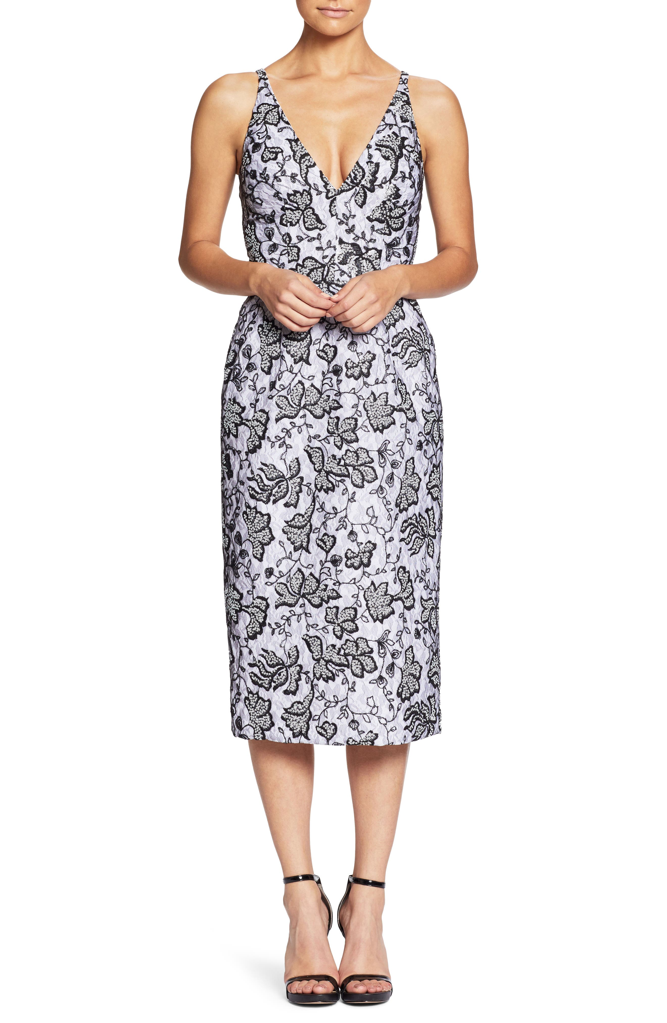Nadia Plunge V-Neck Lace Dress,                         Main,                         color, 021