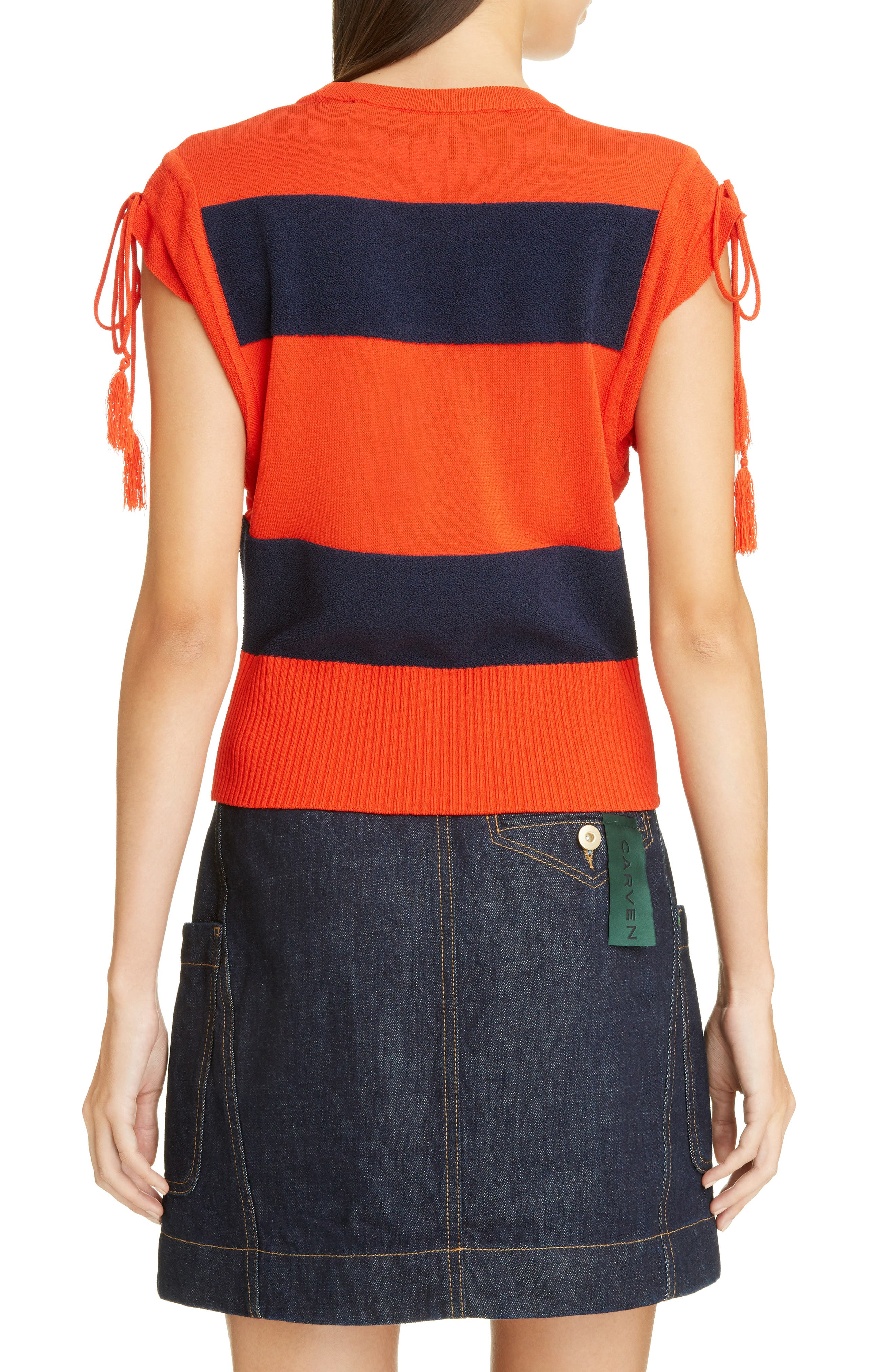 Tassel Detail Rugby Stripe Top,                             Alternate thumbnail 2, color,                             601