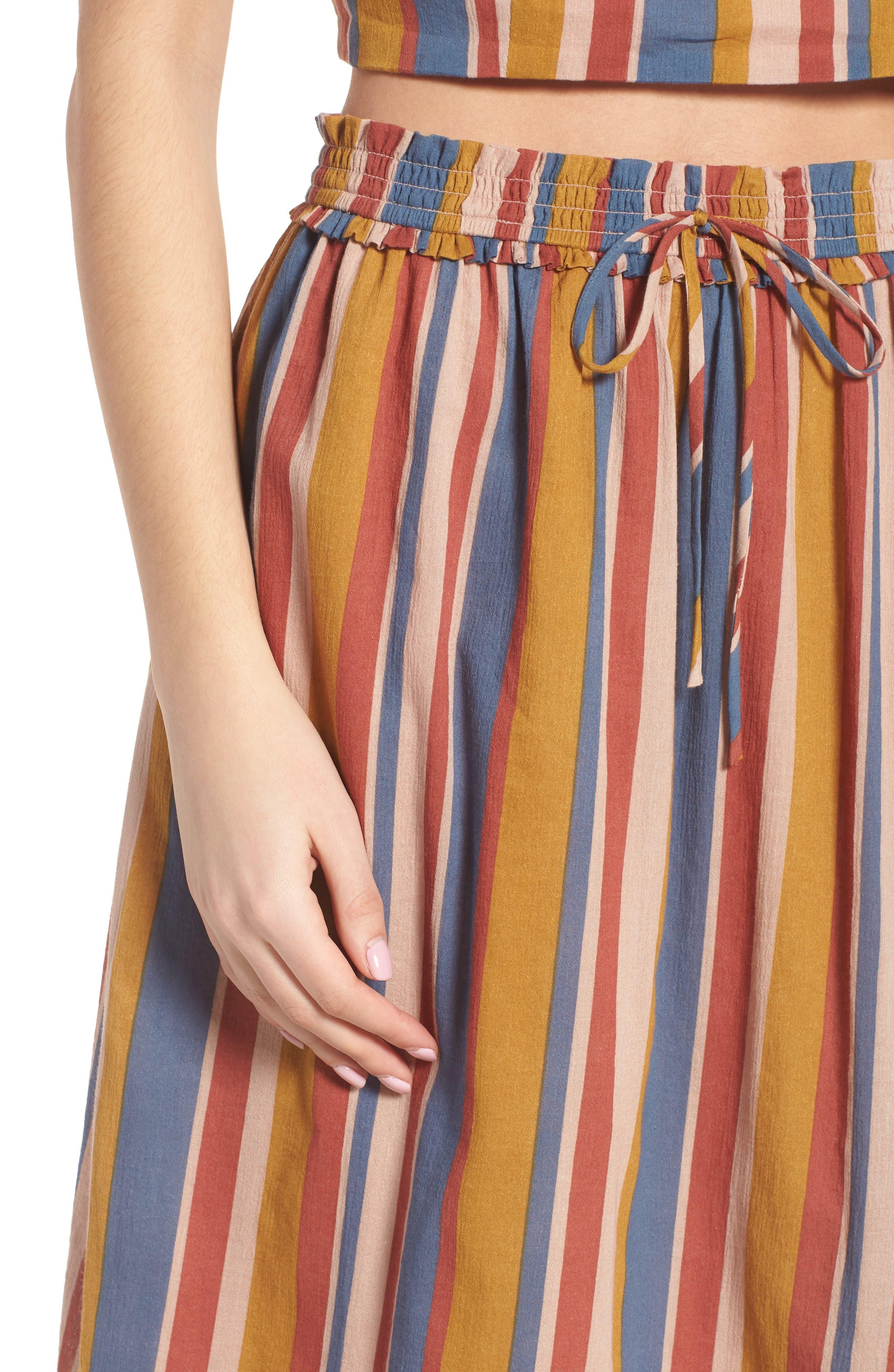 Smocked Midi Skirt,                             Alternate thumbnail 4, color,