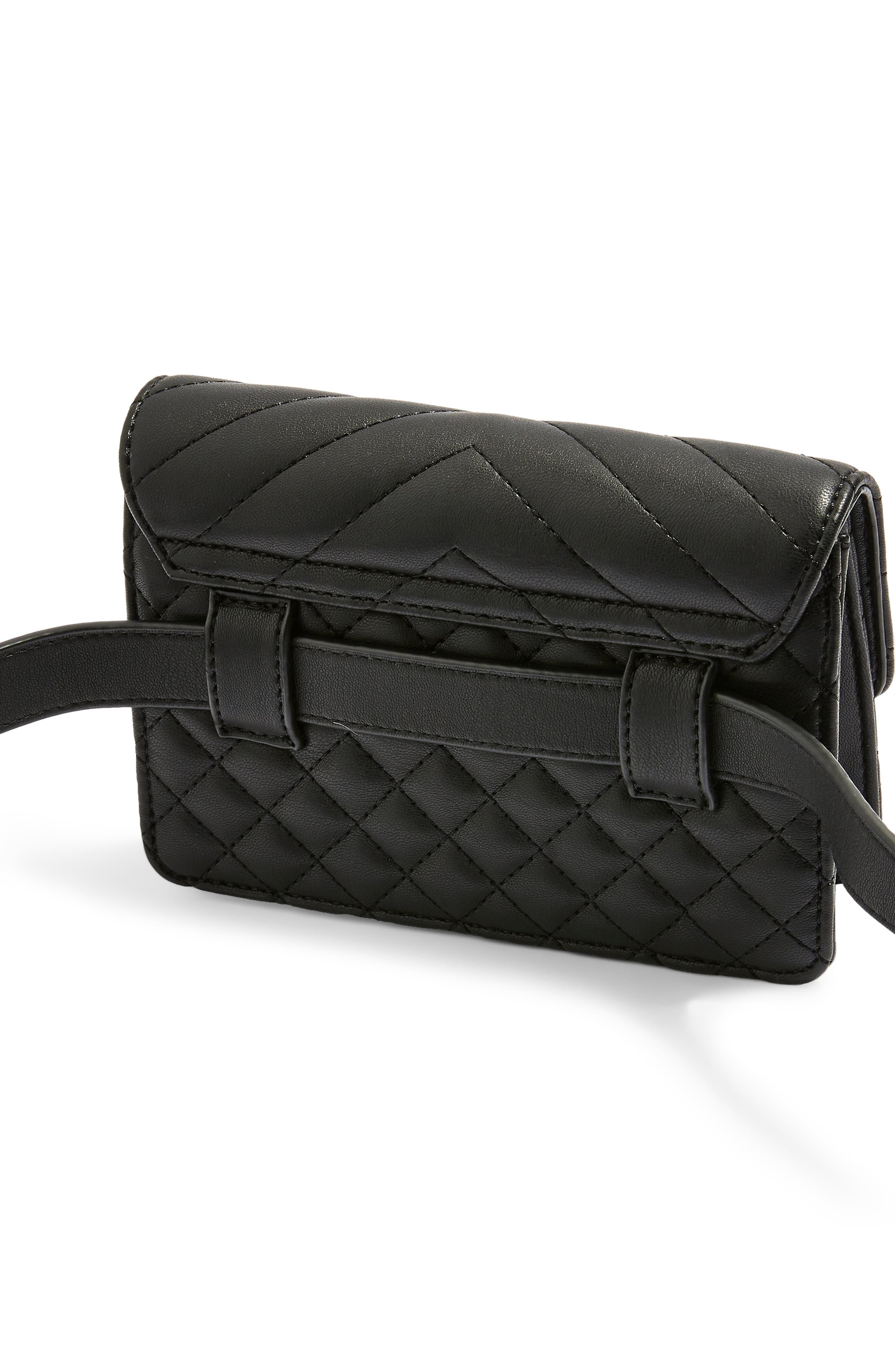 Prince Quilted Belt Bag,                             Alternate thumbnail 3, color,                             BLACK