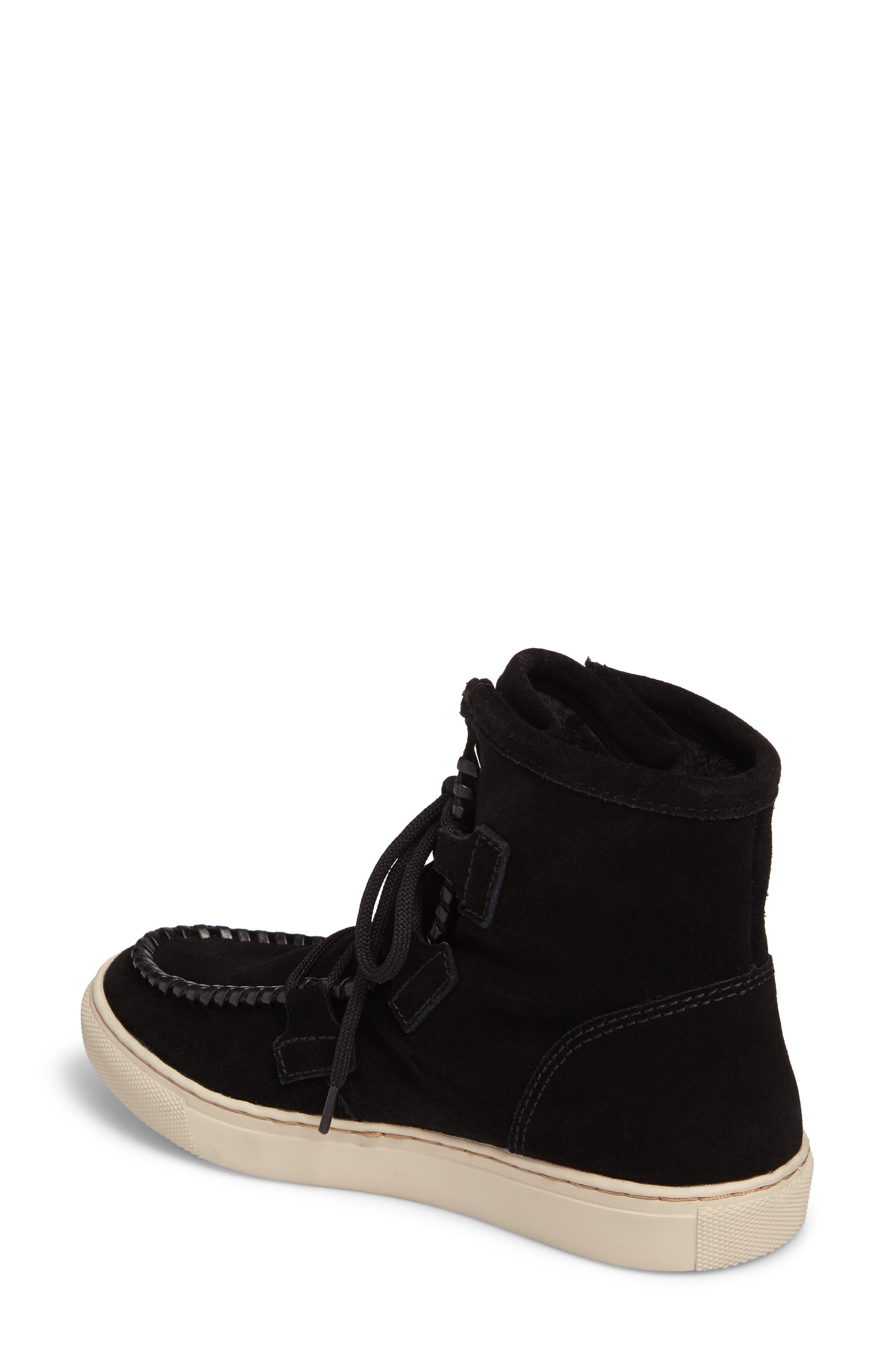 Fabiola Waterproof High Top Sneaker,                             Alternate thumbnail 2, color,                             BLACK SUEDE