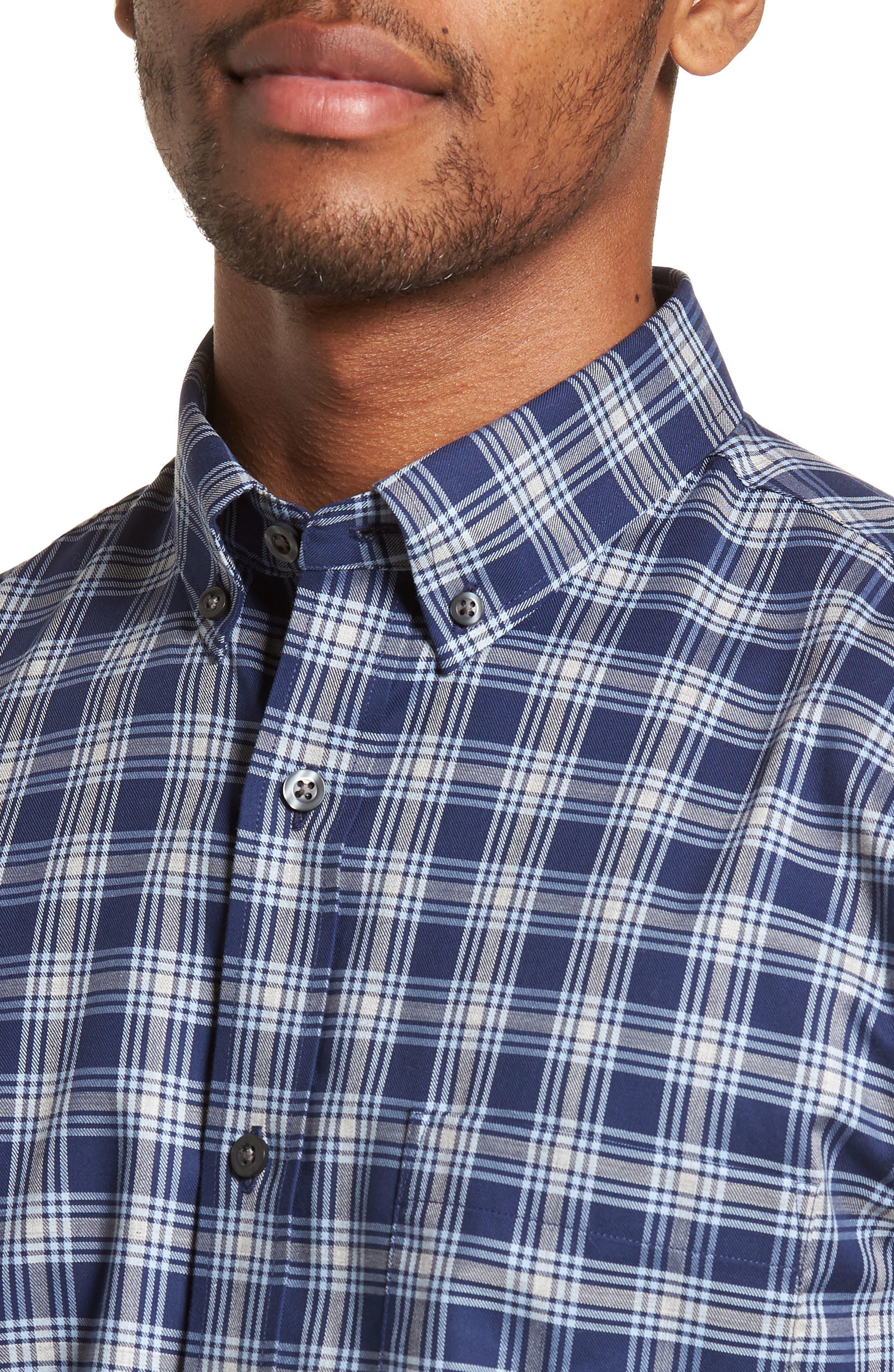 Non-Iron Spade Plaid Sport Shirt,                             Alternate thumbnail 4, color,                             410
