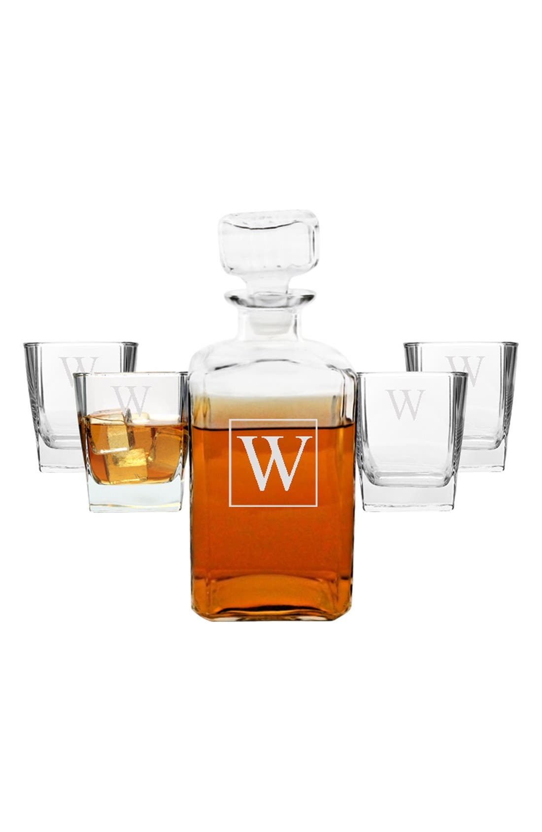 Monogram Five-Piece Decanter Set,                             Alternate thumbnail 2, color,                             Z