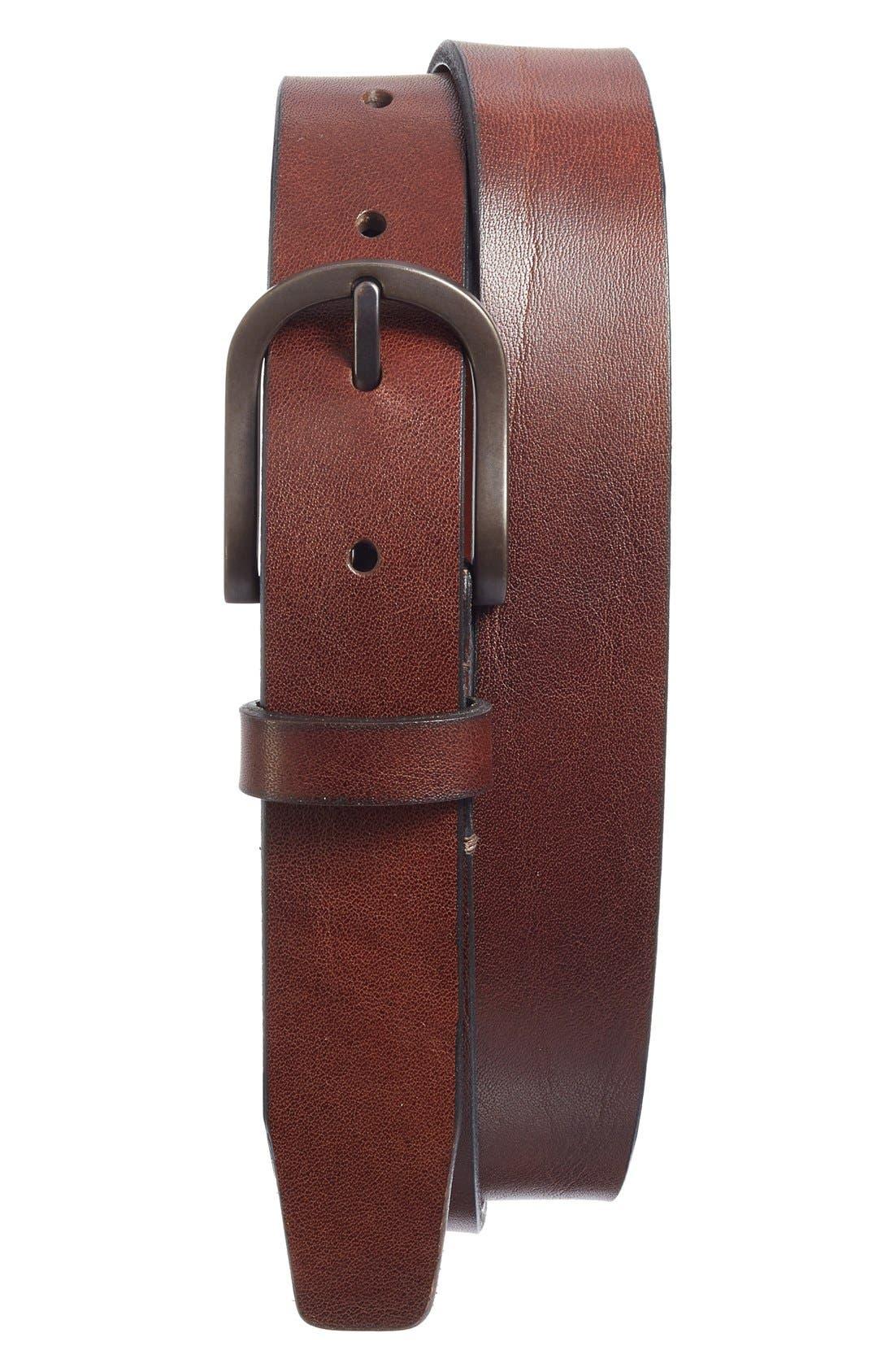 Heavyweight Leather Belt,                             Alternate thumbnail 3, color,                             DARK BROWN