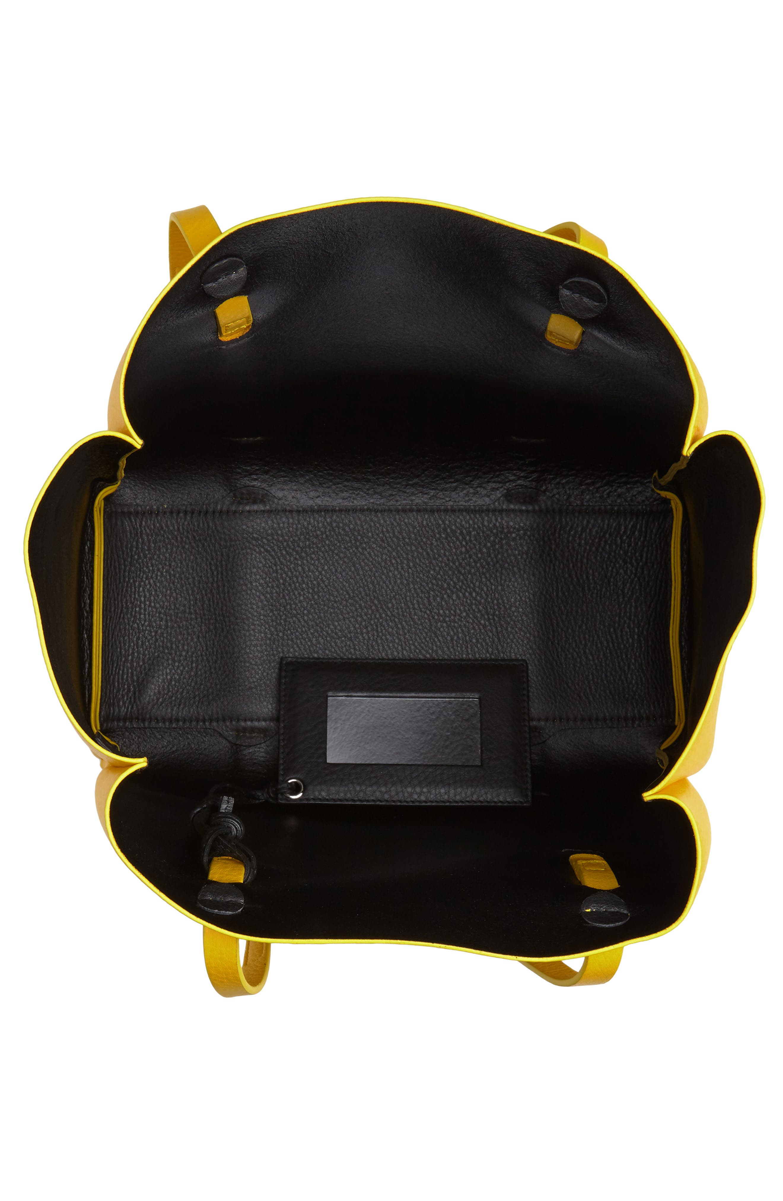 Small Everyday Calfskin Tote,                             Alternate thumbnail 4, color,                             YELLOW/ NOIR