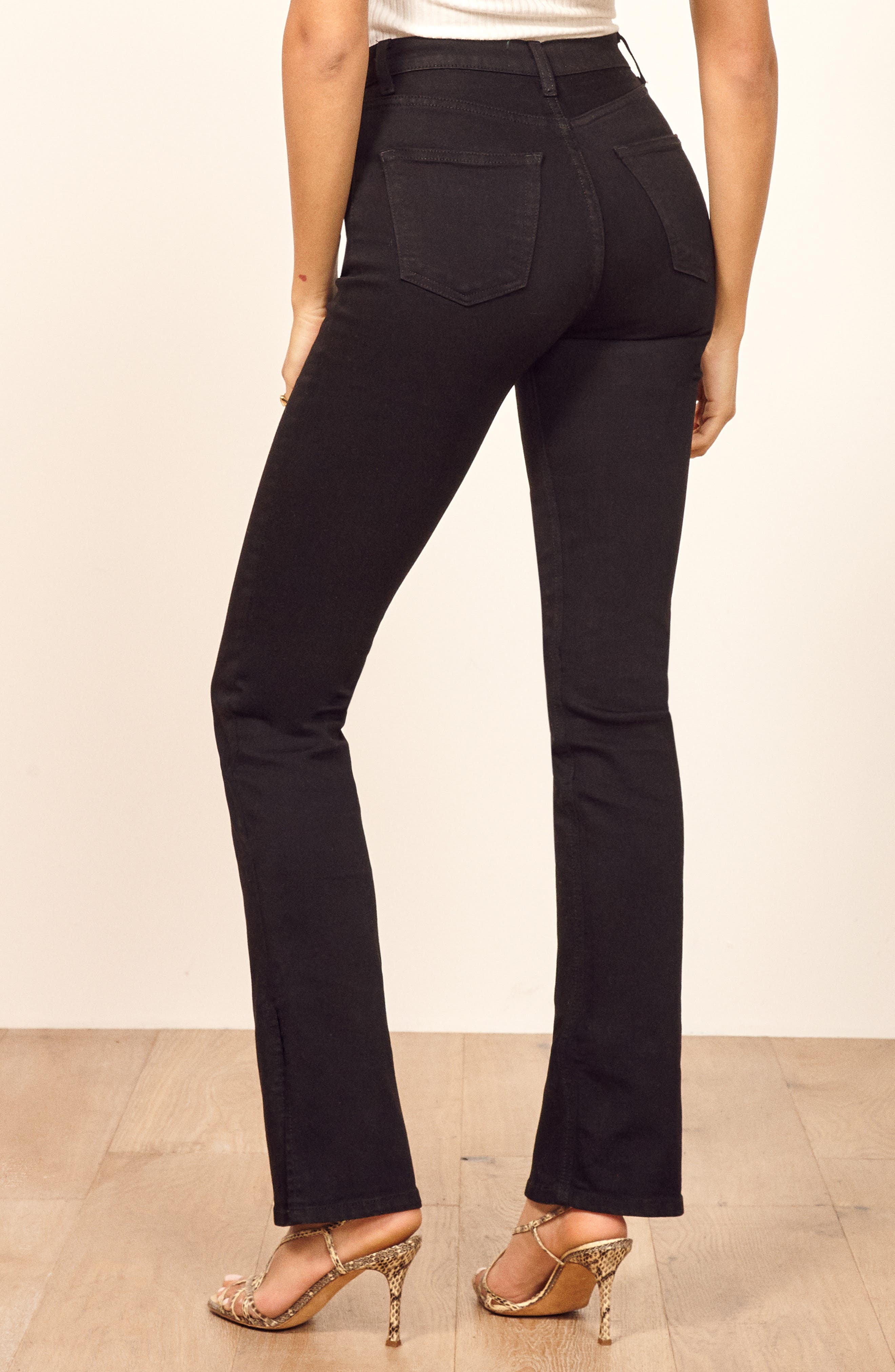 Perri Flare Jeans,                             Alternate thumbnail 3, color,                             BLACK