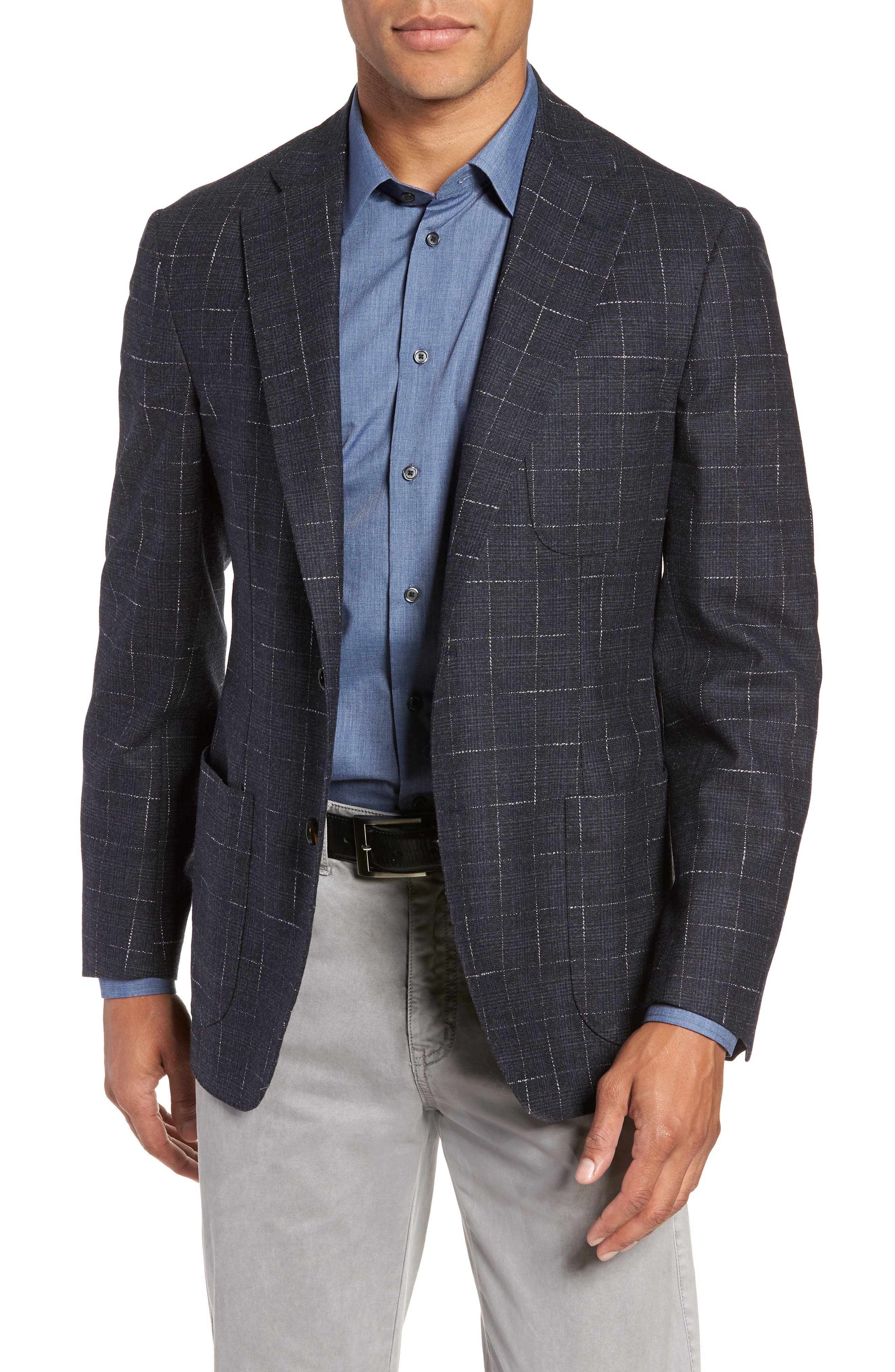 Trim Fit Stretch Plaid Wool Sport Coat,                             Main thumbnail 1, color,                             NAVY