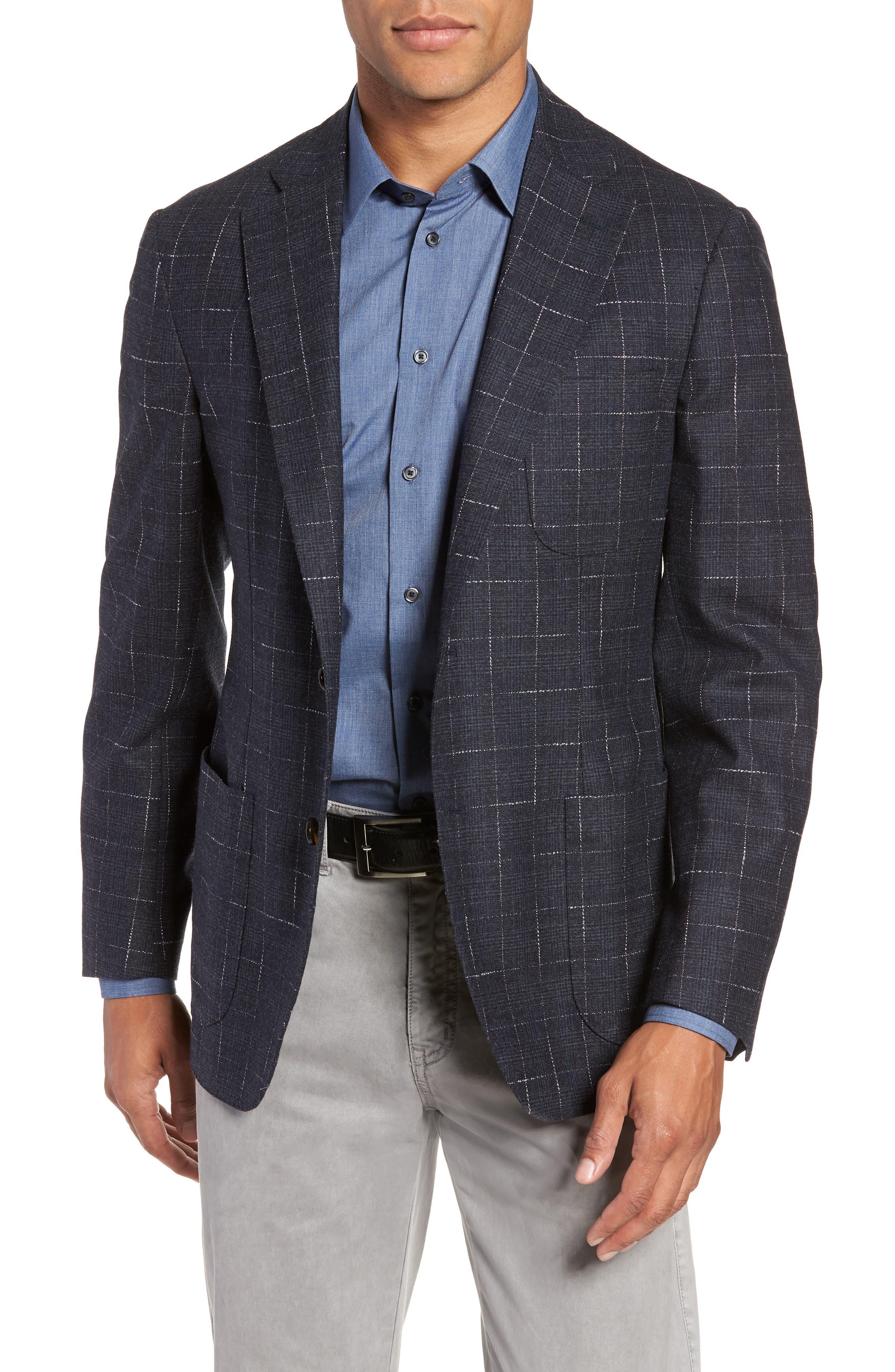 Trim Fit Stretch Plaid Wool Sport Coat,                         Main,                         color, NAVY