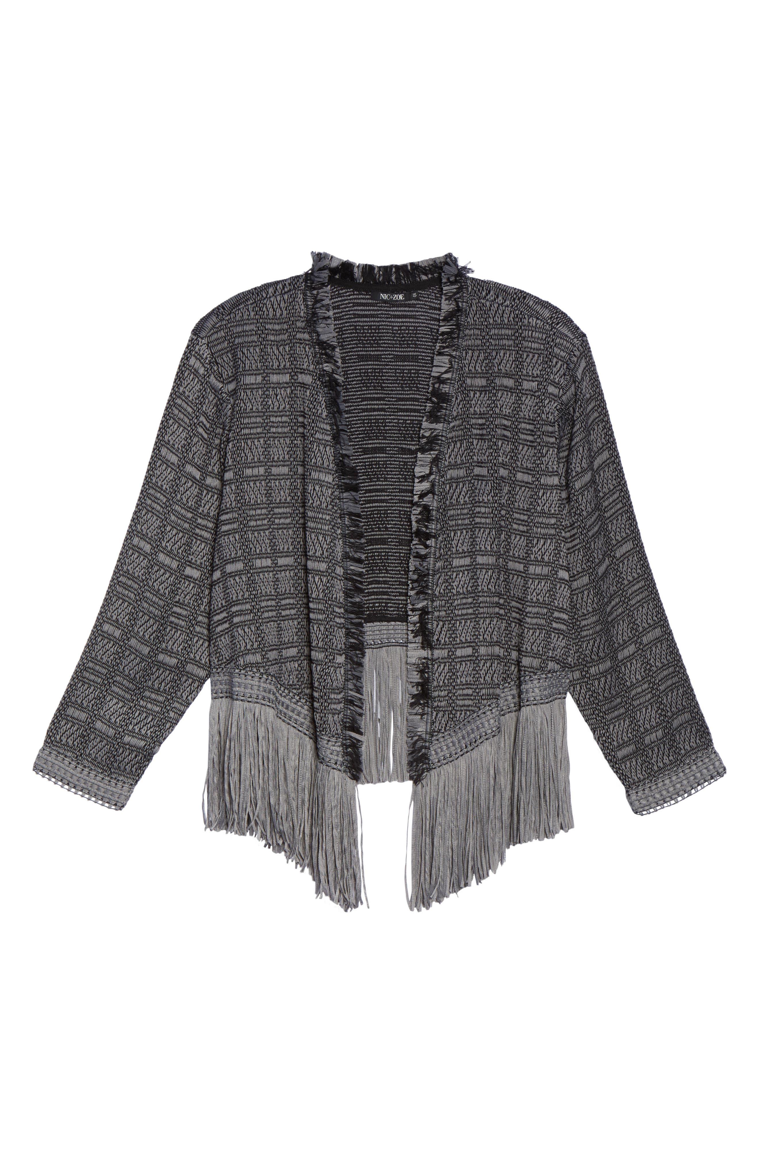 Cork Fringe Tweed Jacket,                             Alternate thumbnail 6, color,                             054