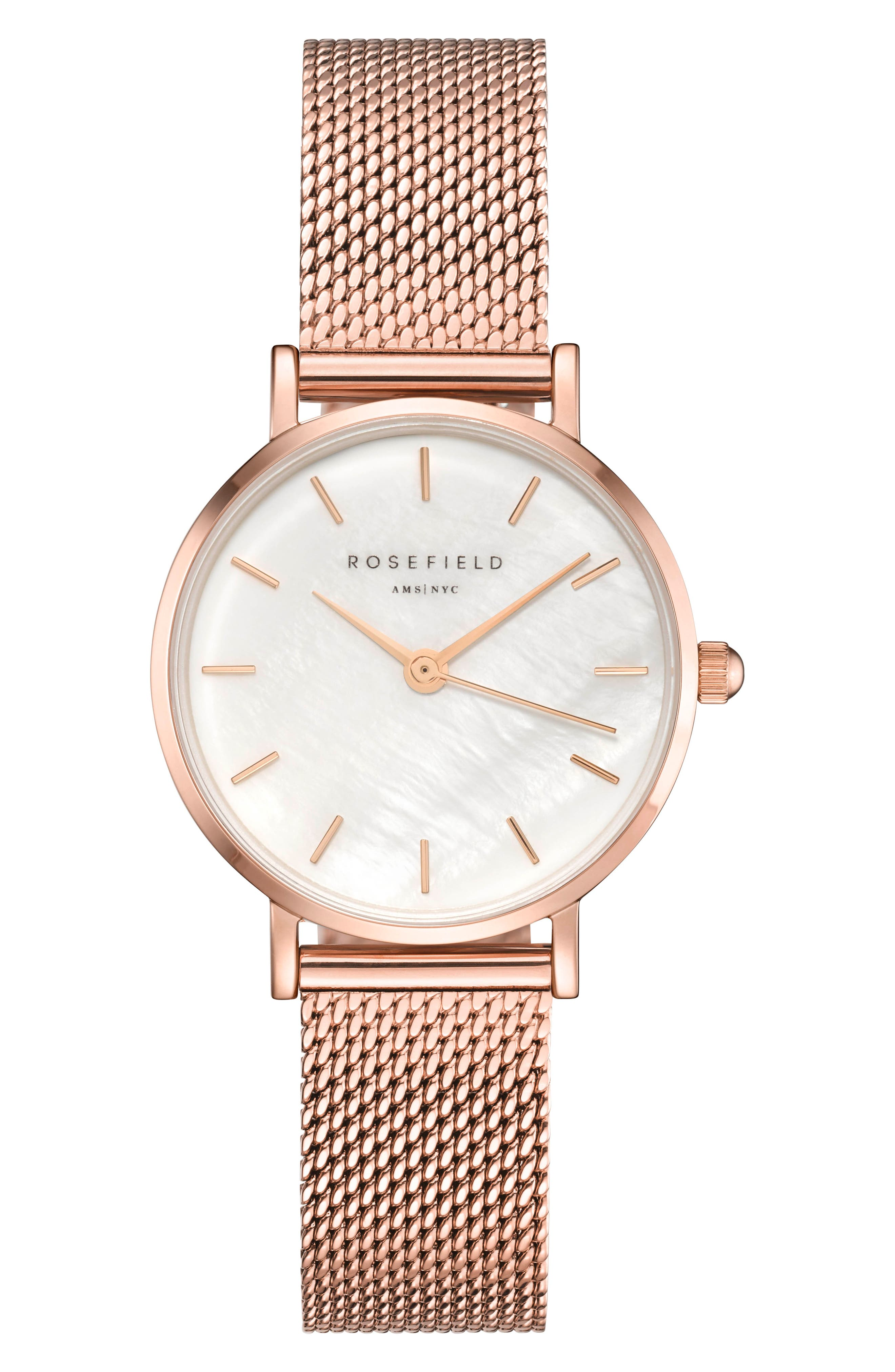 Small Edit Stainless Steel Strap Watch, 26mm,                             Main thumbnail 1, color,                             ROSE GOLD/ WHITE/ ROSE GOLD