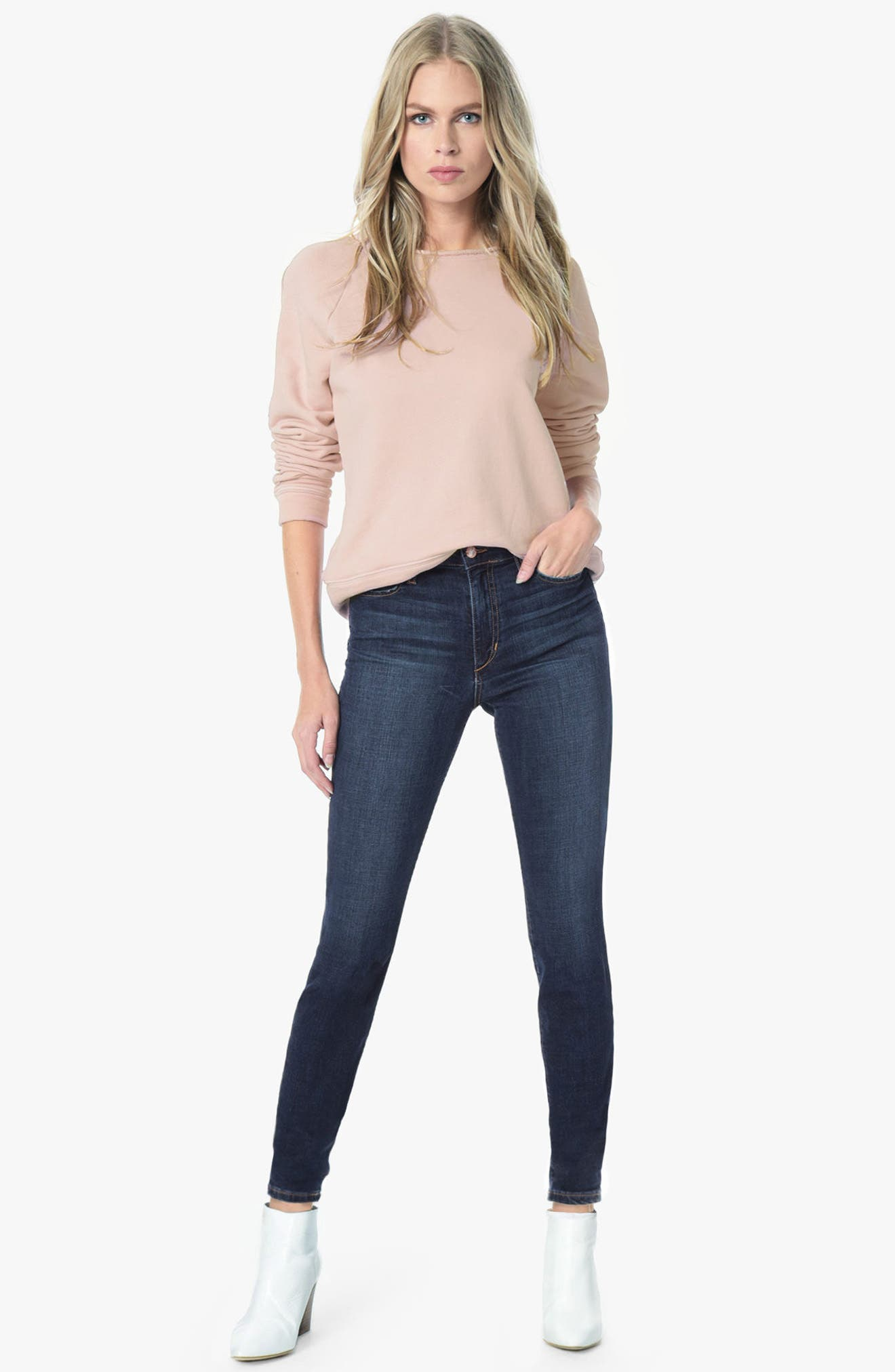 Flawless - Charlie High Rise Ankle Skinny Jeans,                             Alternate thumbnail 4, color,                             TANIA