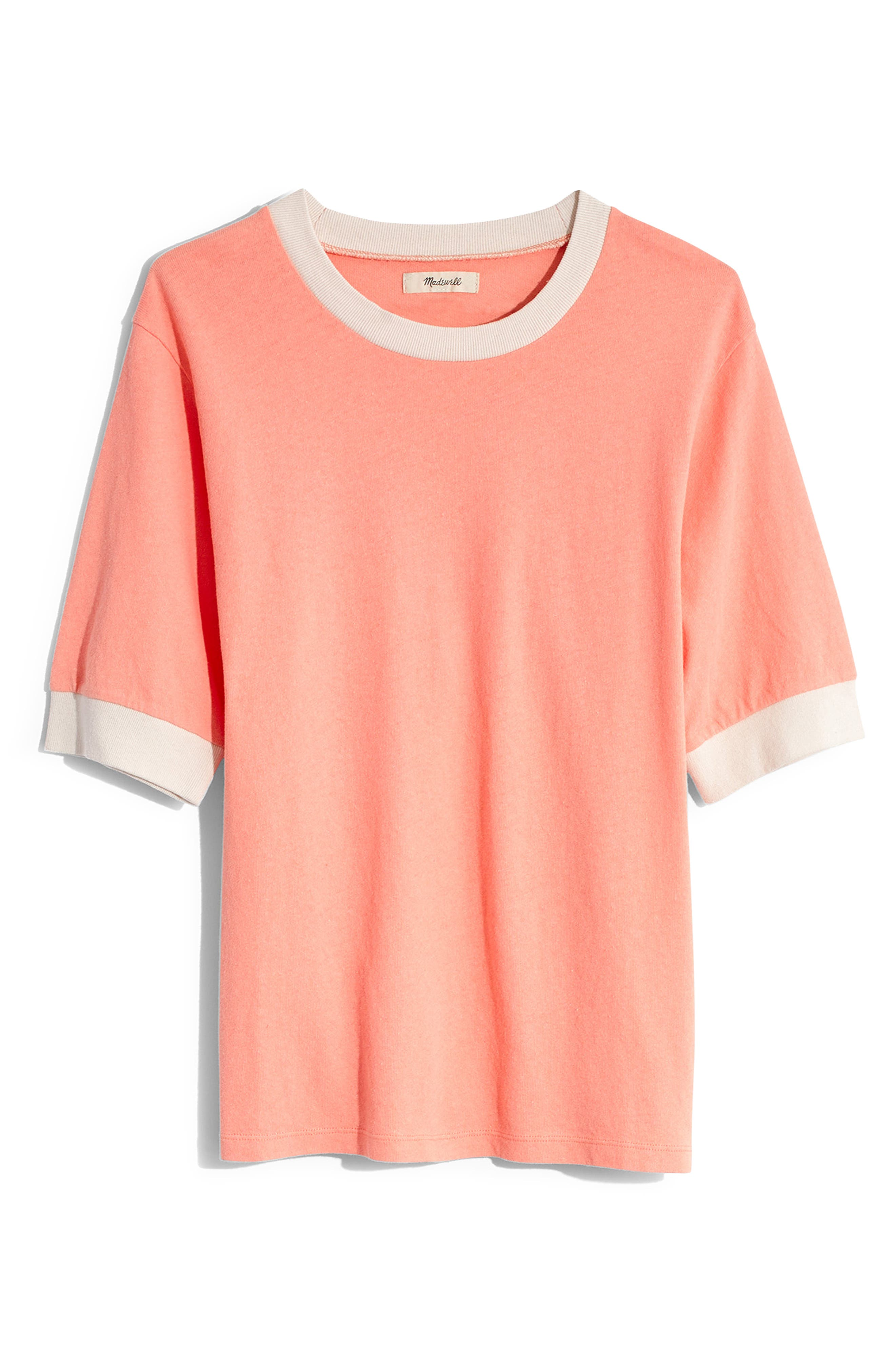 Madewell Relaxed Ringer Tee, Coral