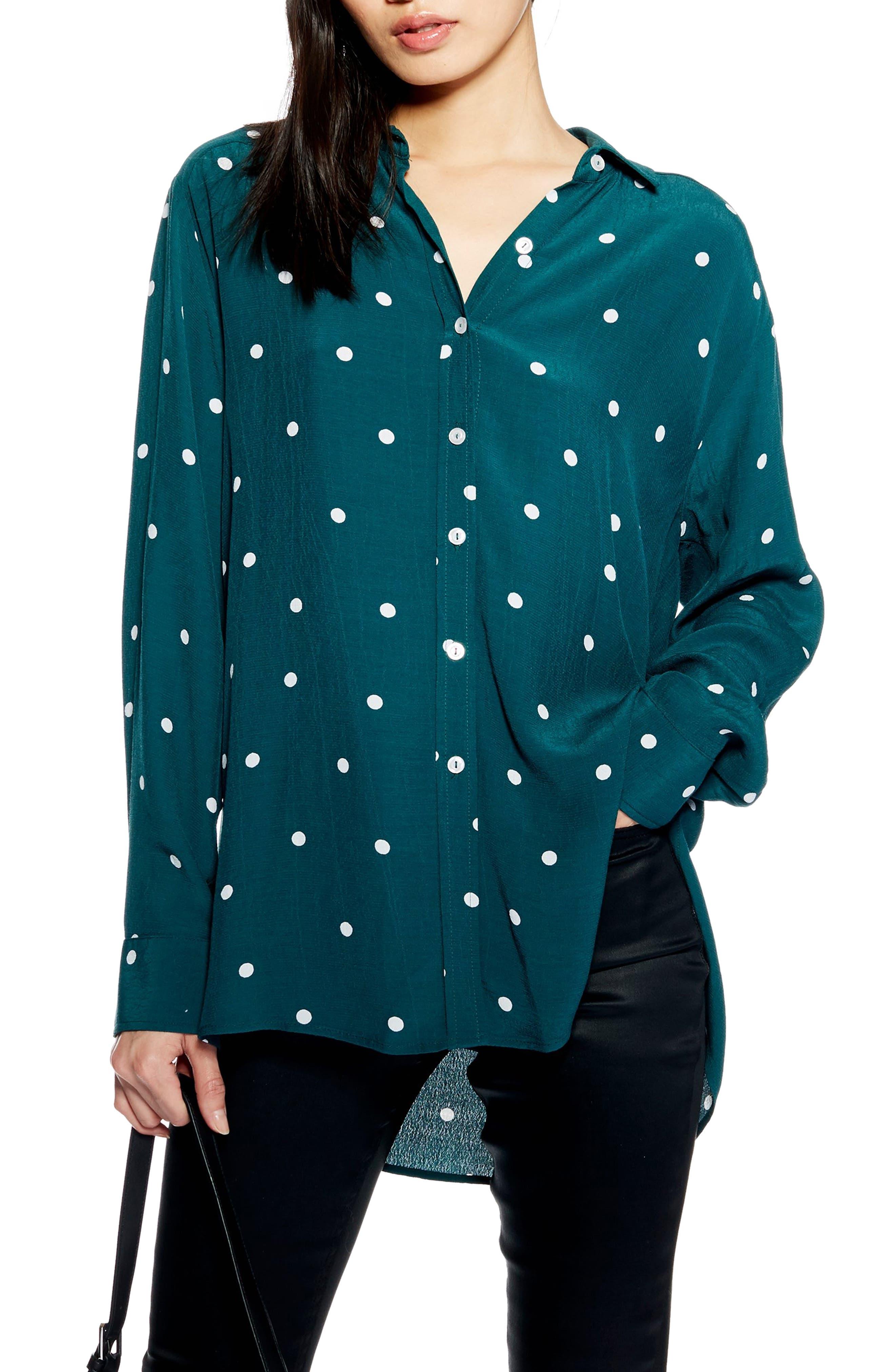 Oversize Spot Shirt,                         Main,                         color, GREEN MULTI