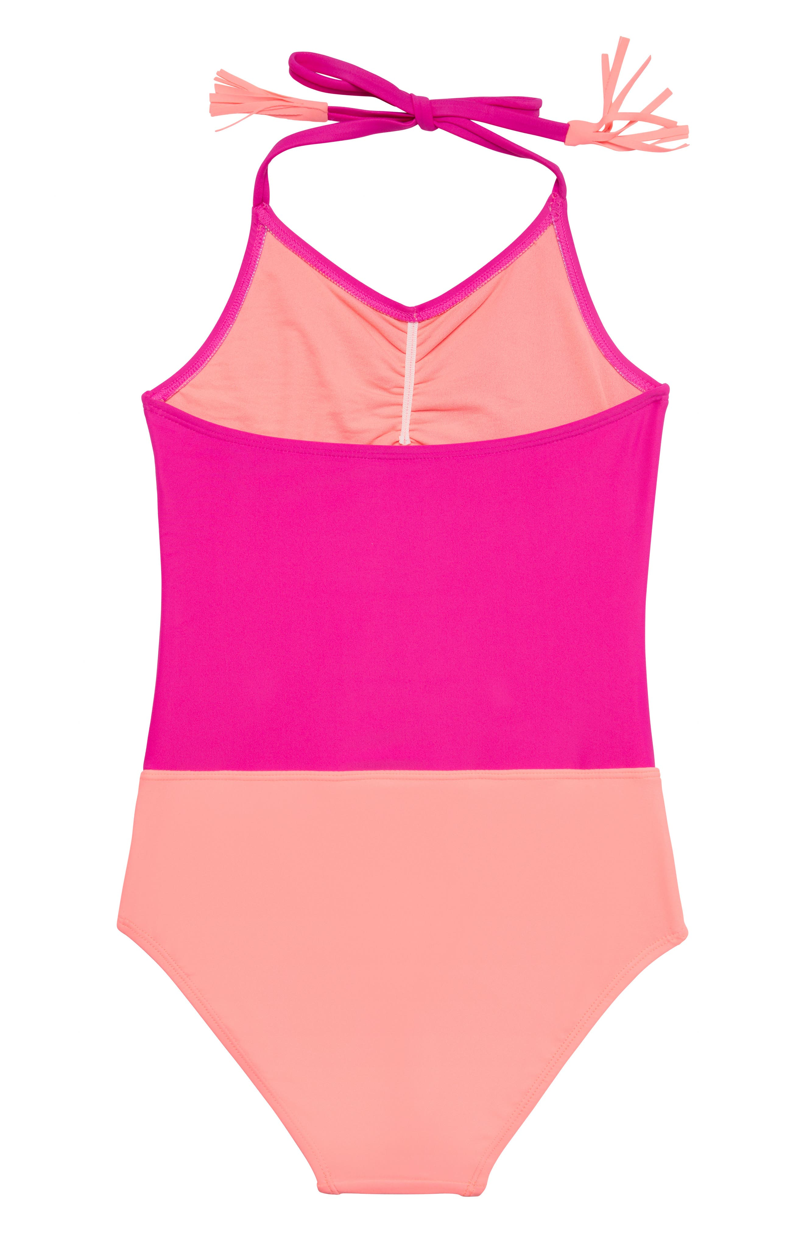 Malibu Stripe One-Piece Swimsuit,                             Alternate thumbnail 2, color,                             PINK/ MULTI