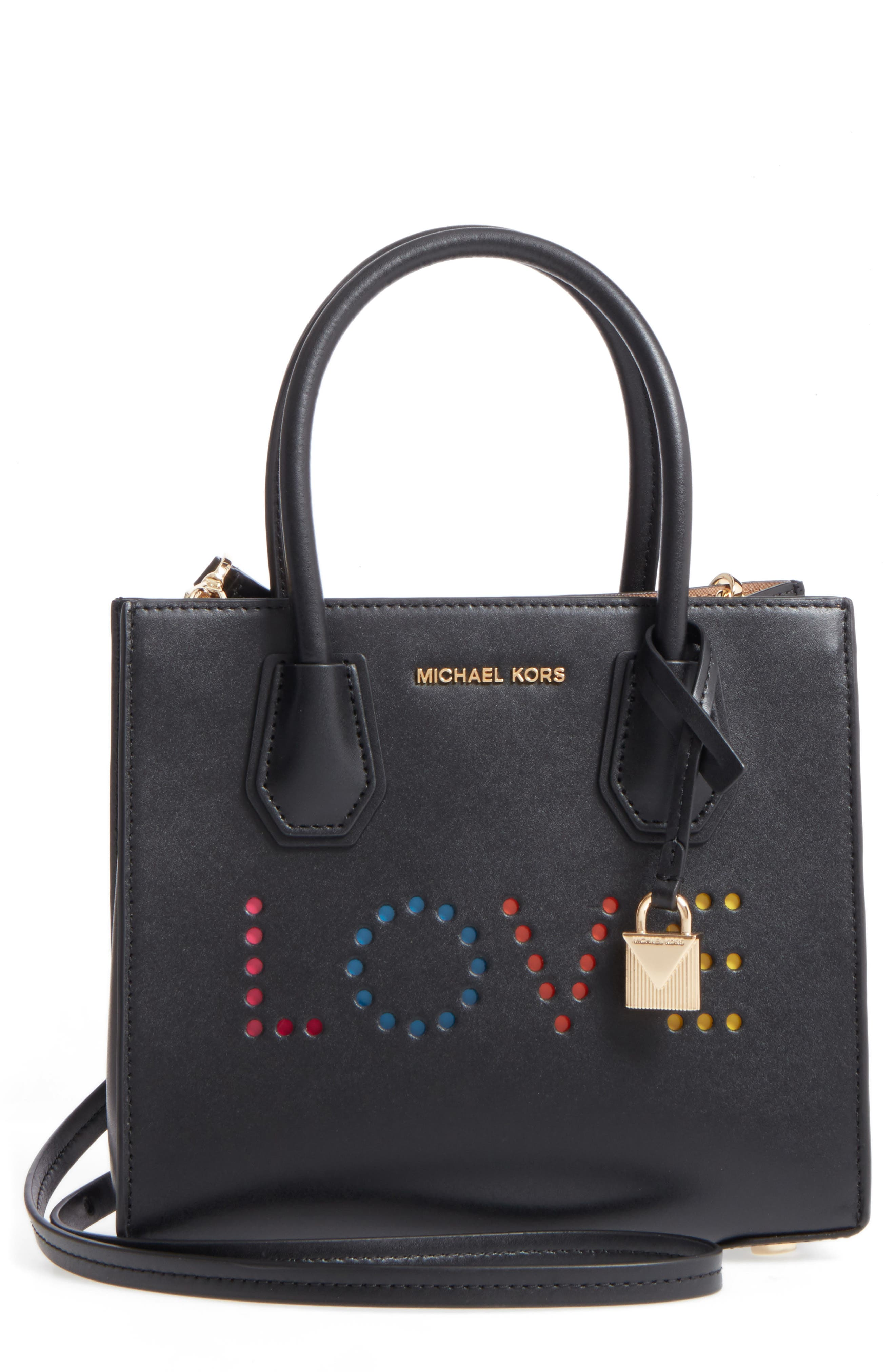 MICHAEL Michael Kors Small Mercer Messenger Leather Tote,                             Main thumbnail 1, color,                             001