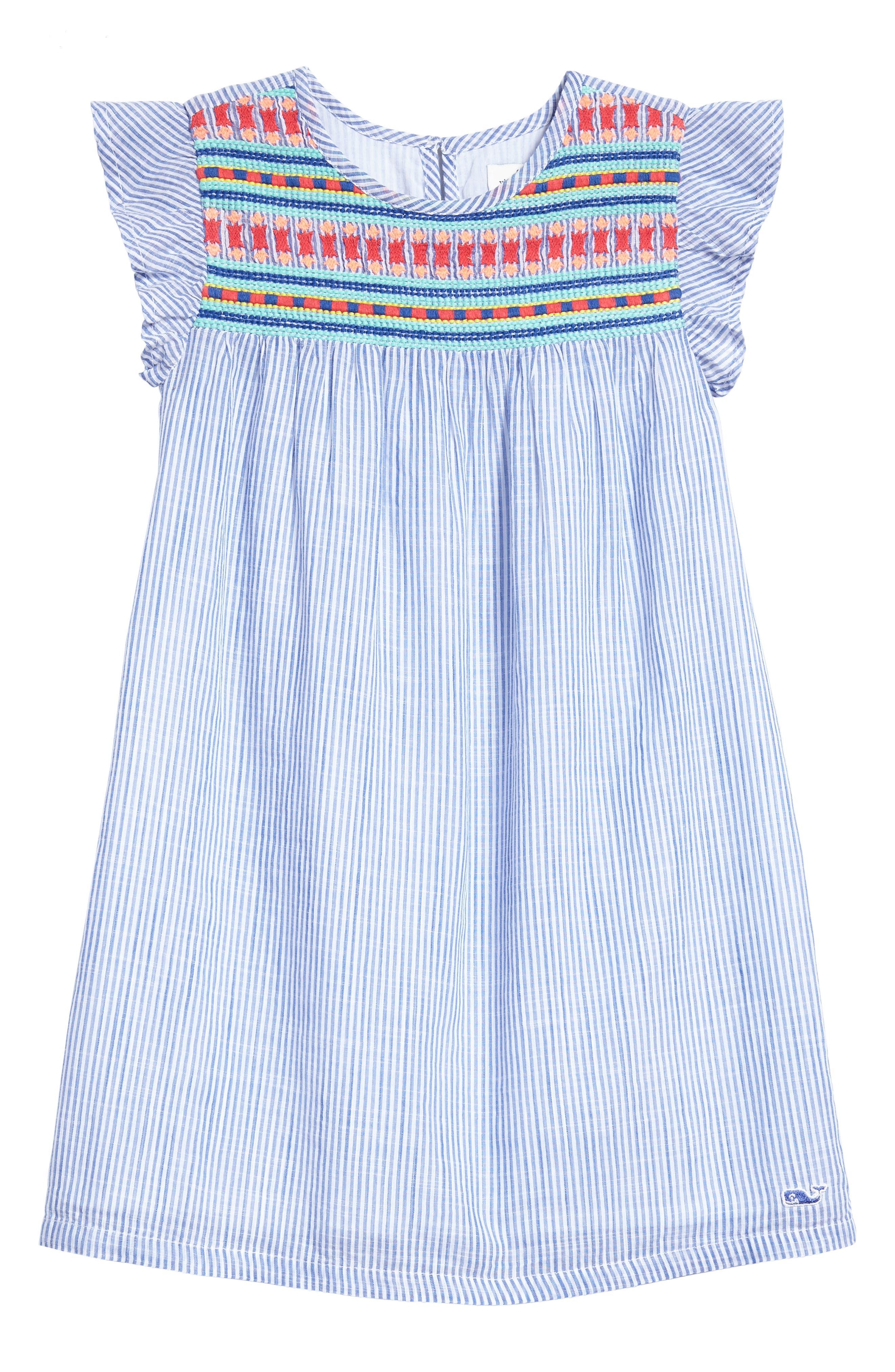 Embroidered Flutter Dress,                         Main,                         color, 400