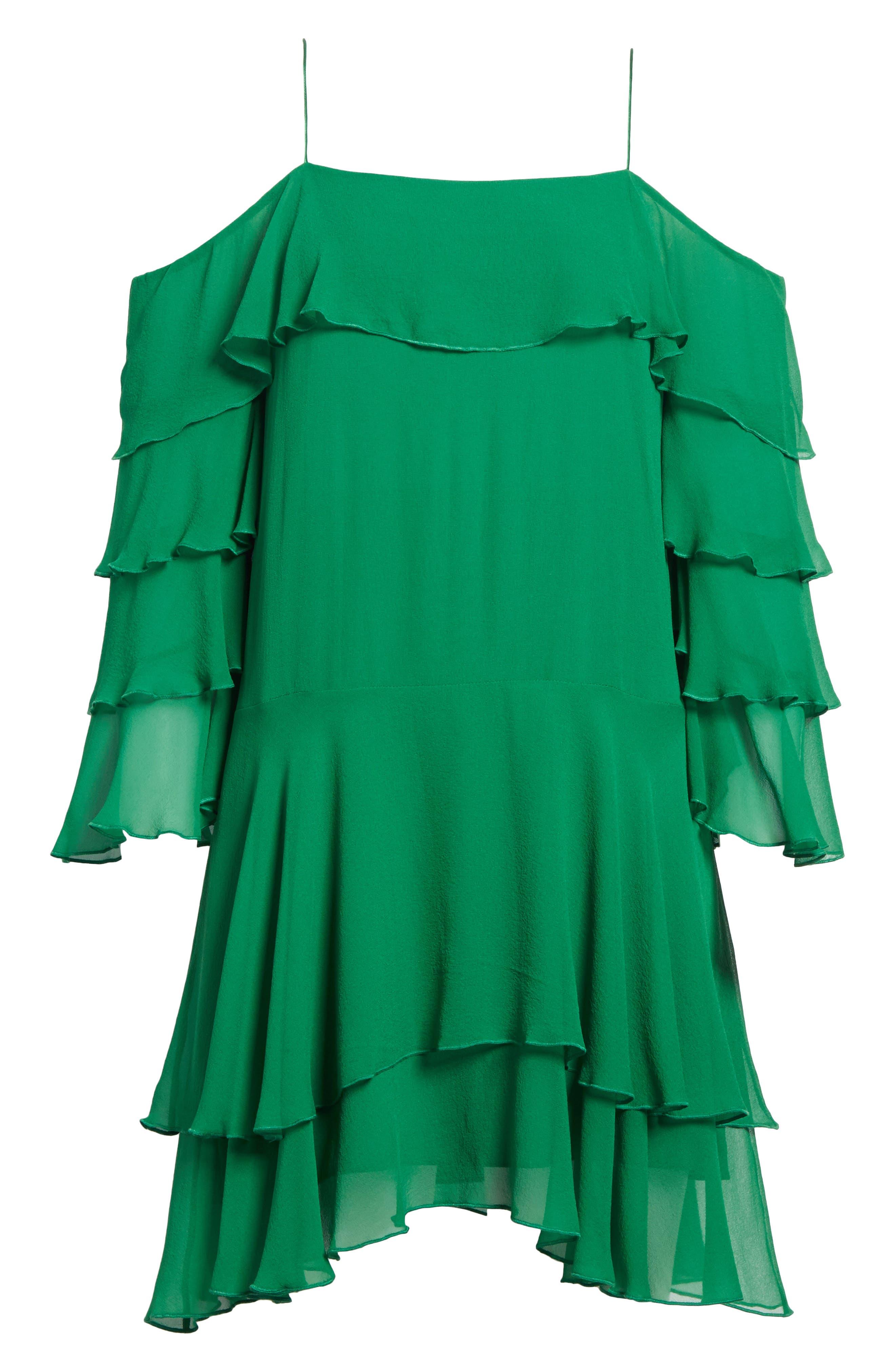 Lexis Lyrd Silk Cold Shoulder Ruffle Dress,                             Alternate thumbnail 6, color,                             316