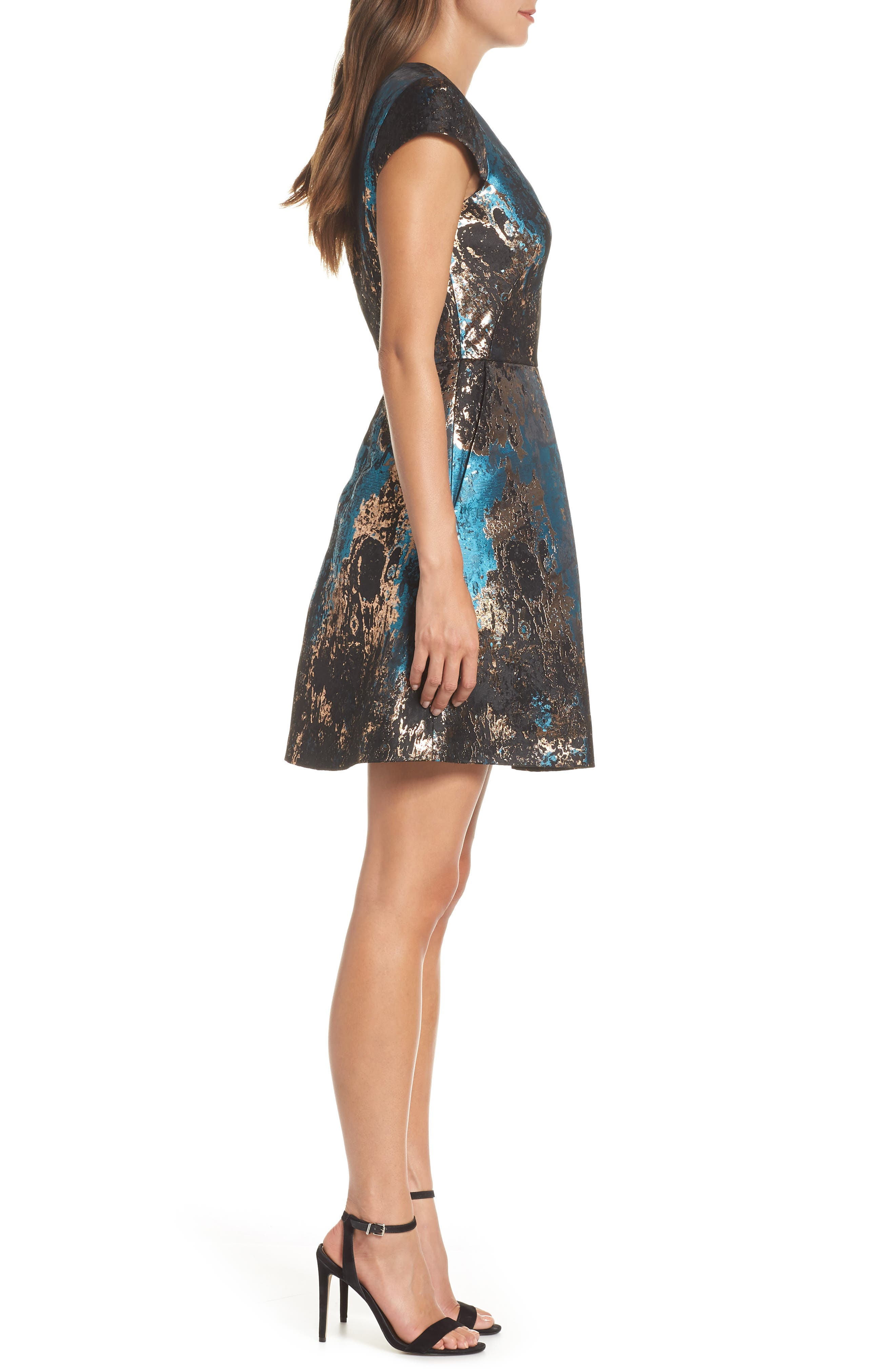 Jacquard Fit & Flare Dress,                             Alternate thumbnail 3, color,                             TEAL MULTI