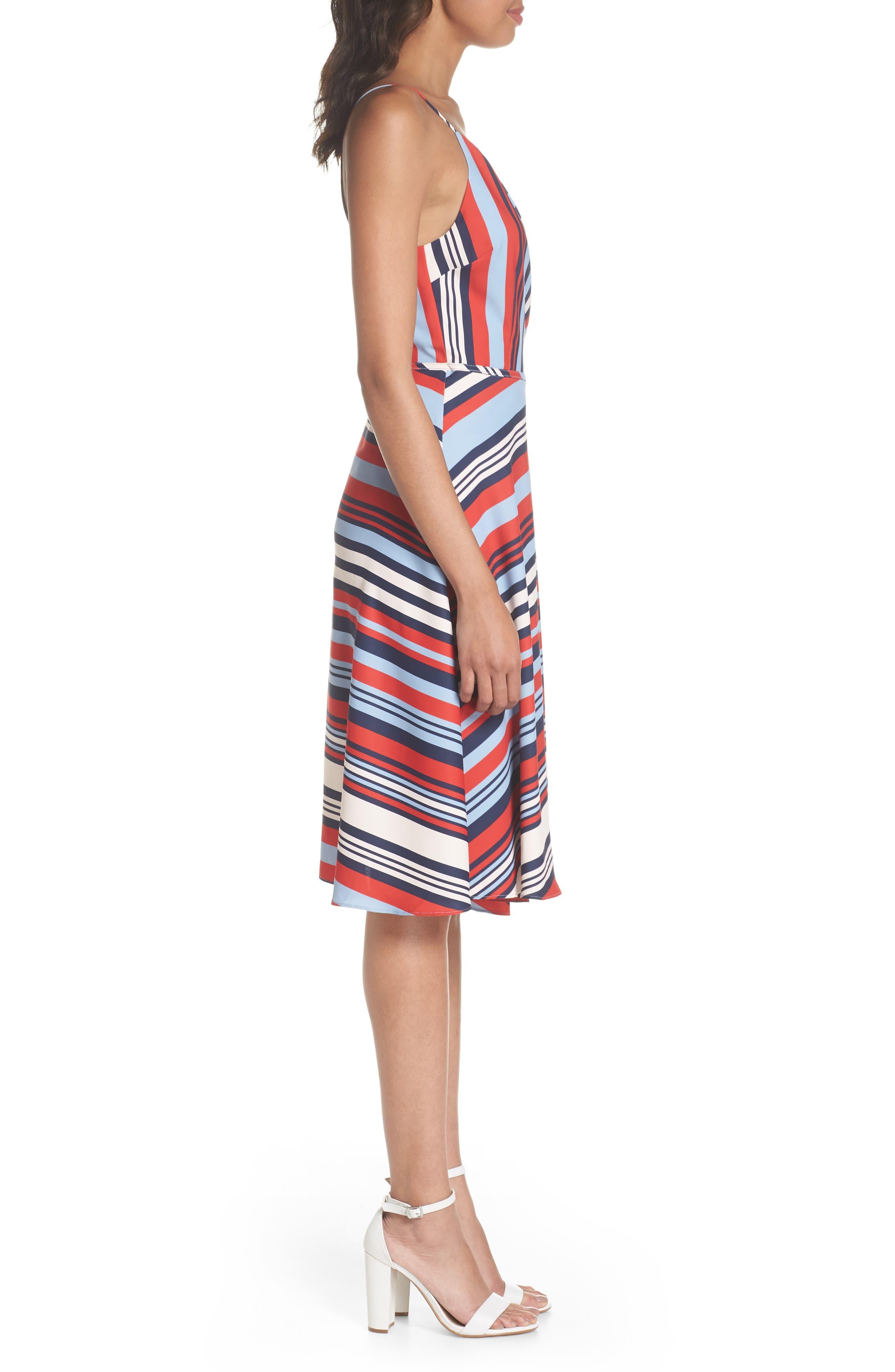 Milan Stripe Wrap Dress,                             Alternate thumbnail 3, color,                             648