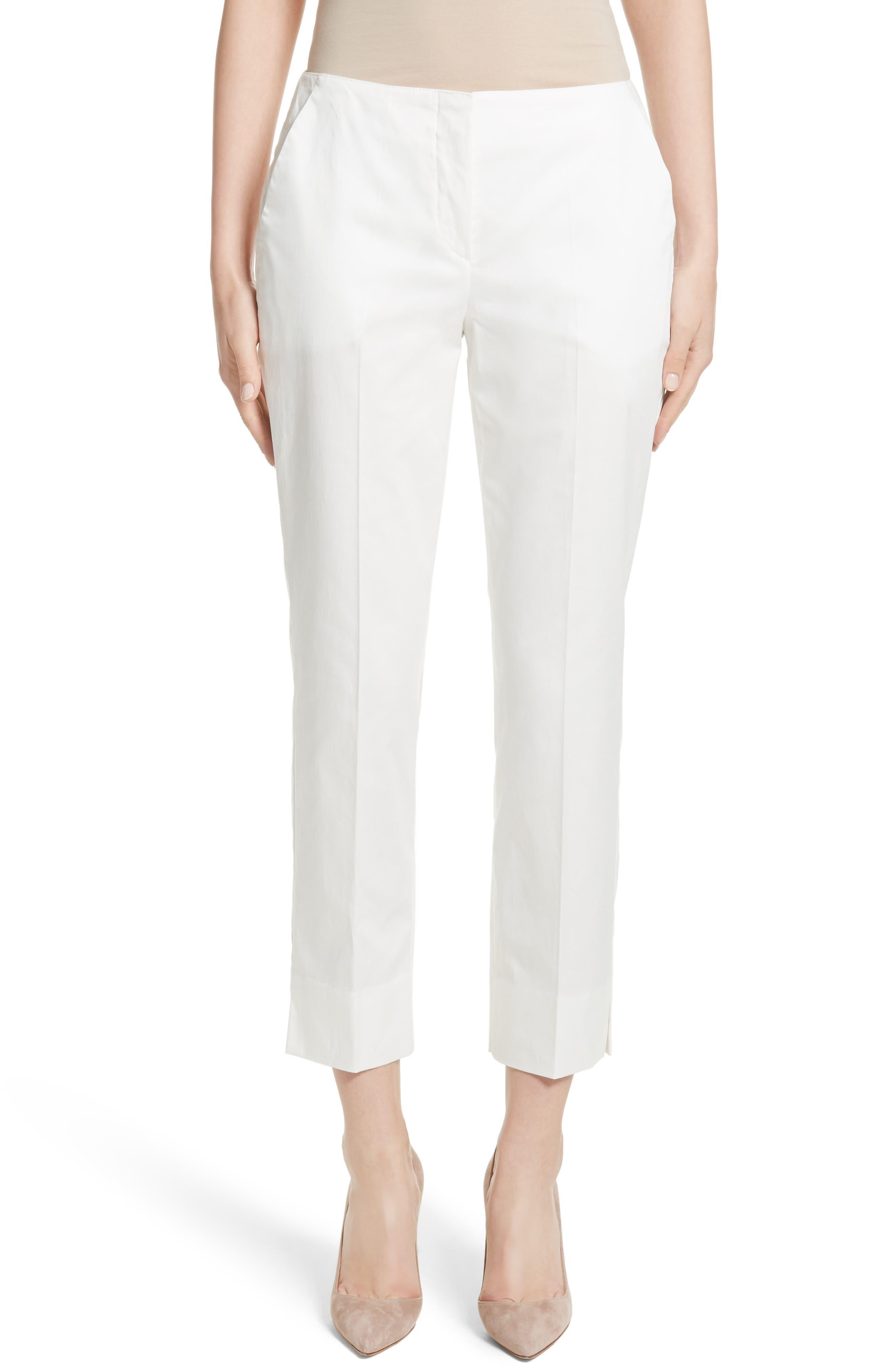Stretch Cotton Ankle Pants,                         Main,                         color,