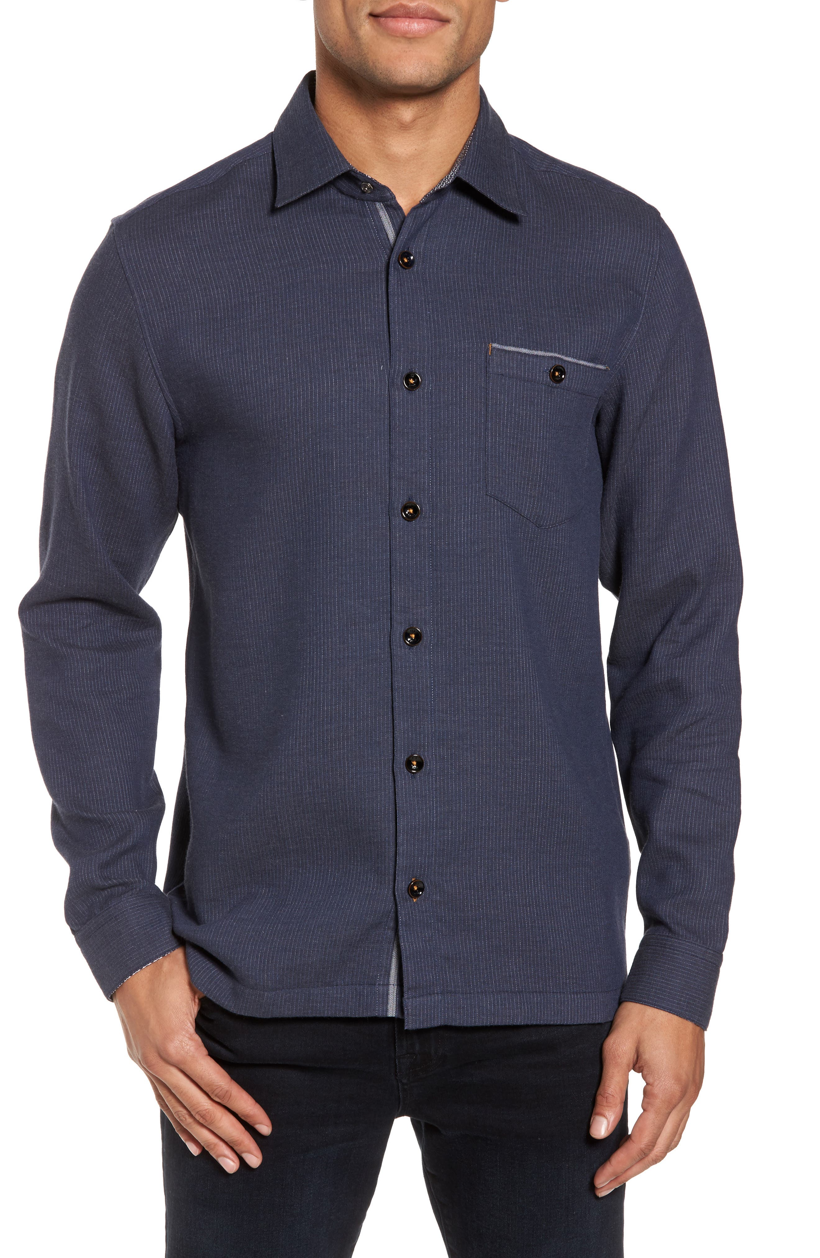 Slim Fit Stripe Workwear Shirt,                         Main,                         color, 410