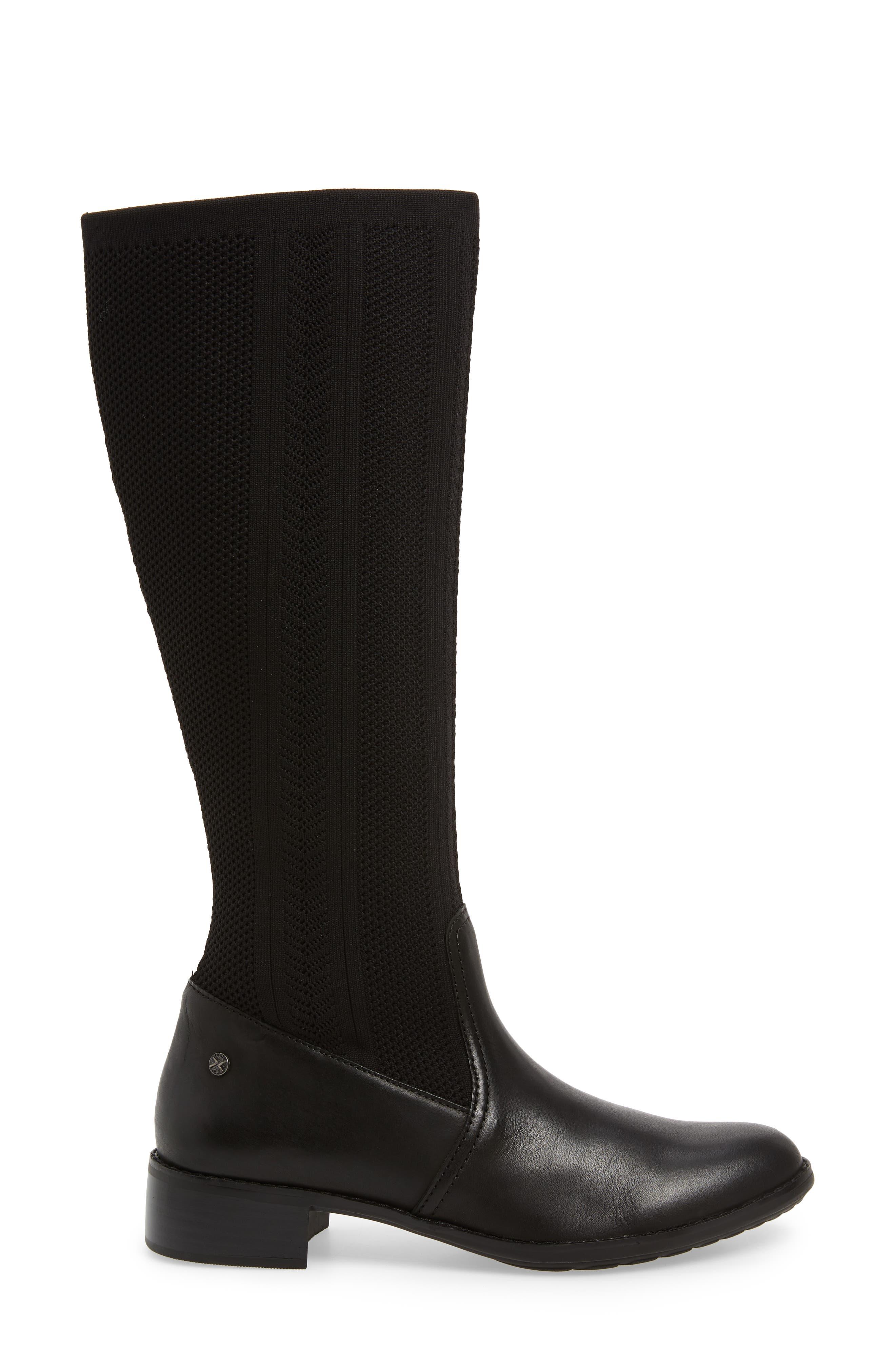 Belle Sock Knit Shaft Boot,                             Alternate thumbnail 3, color,                             BLACK LEATHER
