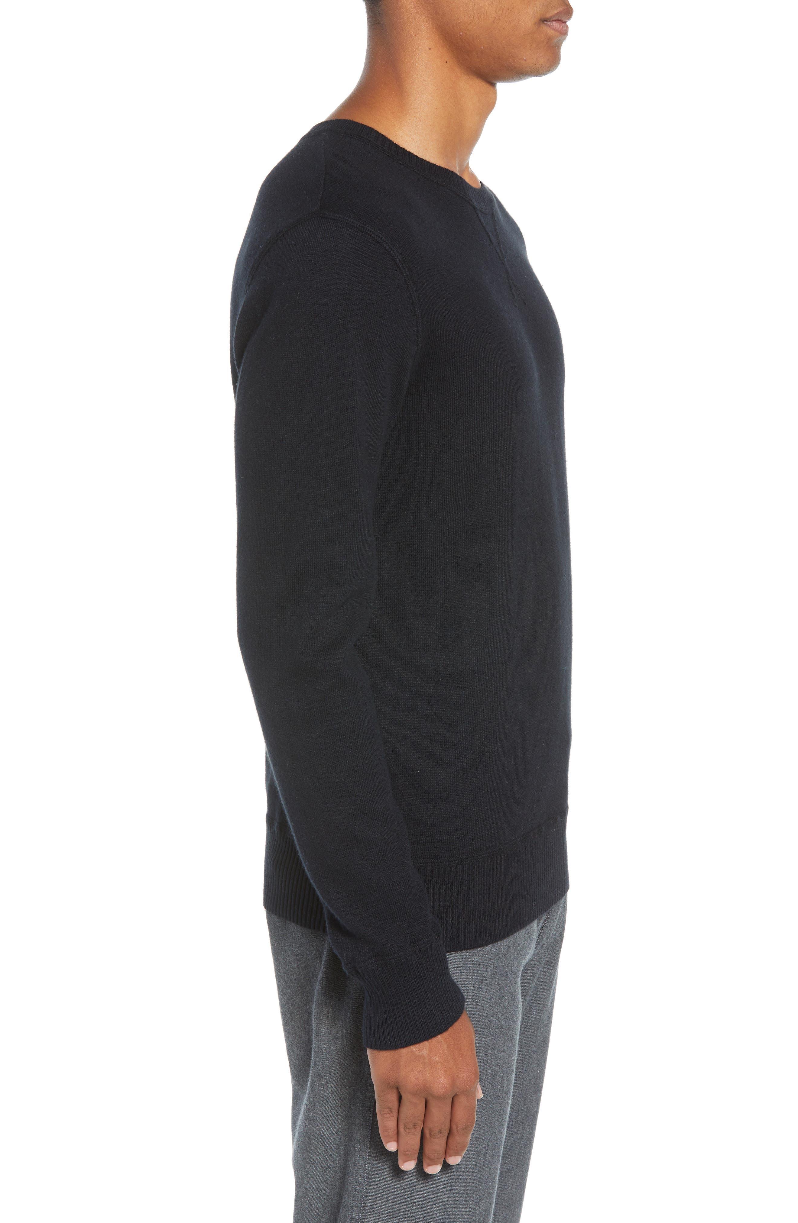 Tournament Slim Fit Crewneck Sweater,                             Alternate thumbnail 3, color,                             BLACK