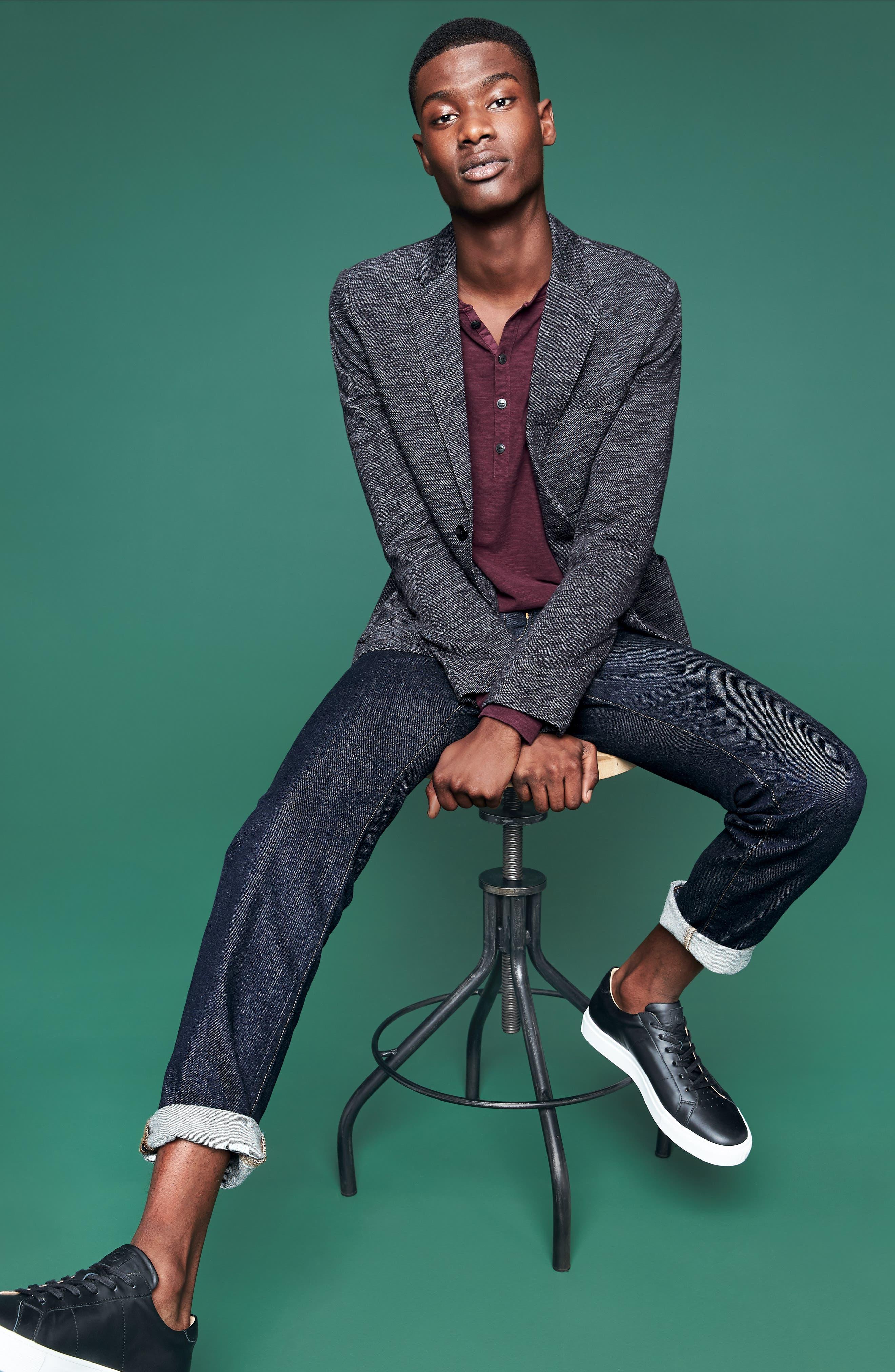 Slim Fit Vintage Twill Knit Sport Coat,                             Alternate thumbnail 6, color,                             BLACK / GREY HEATHER
