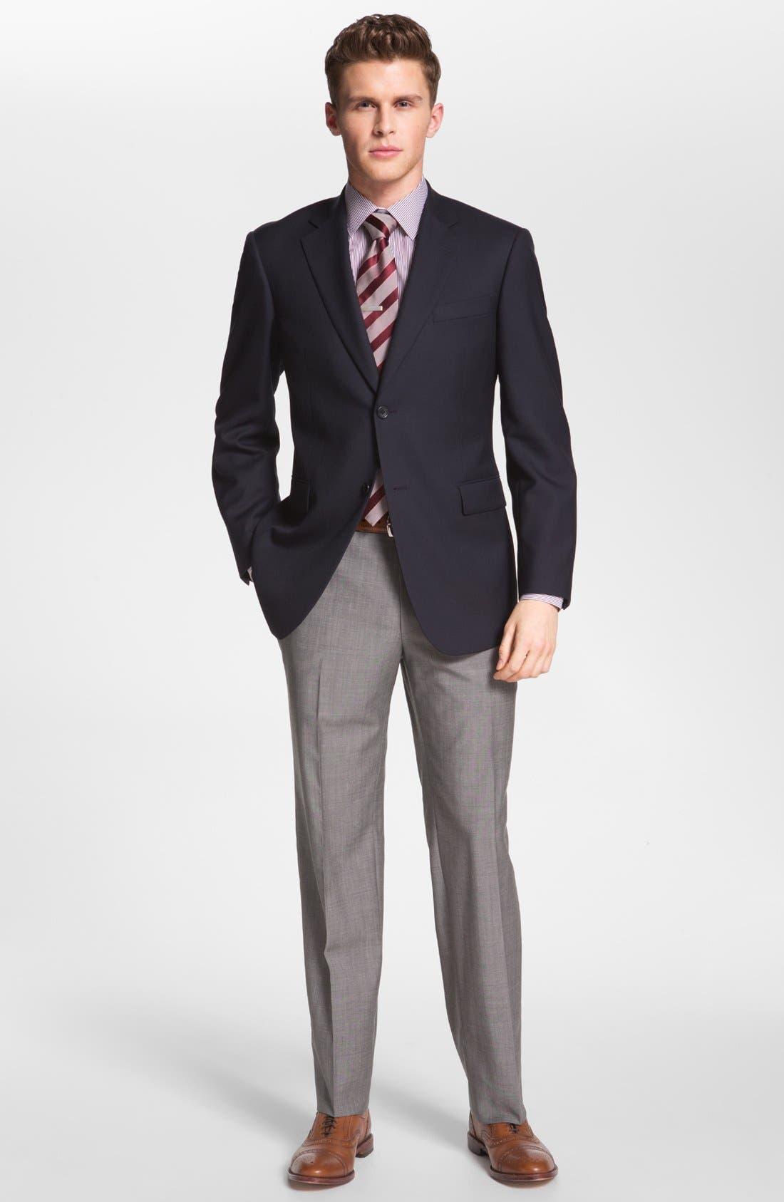BOSS HUGO BOSS 'Jeffrey US' Flat Front Pinpoint Wool Trousers,                             Alternate thumbnail 5, color,                             022