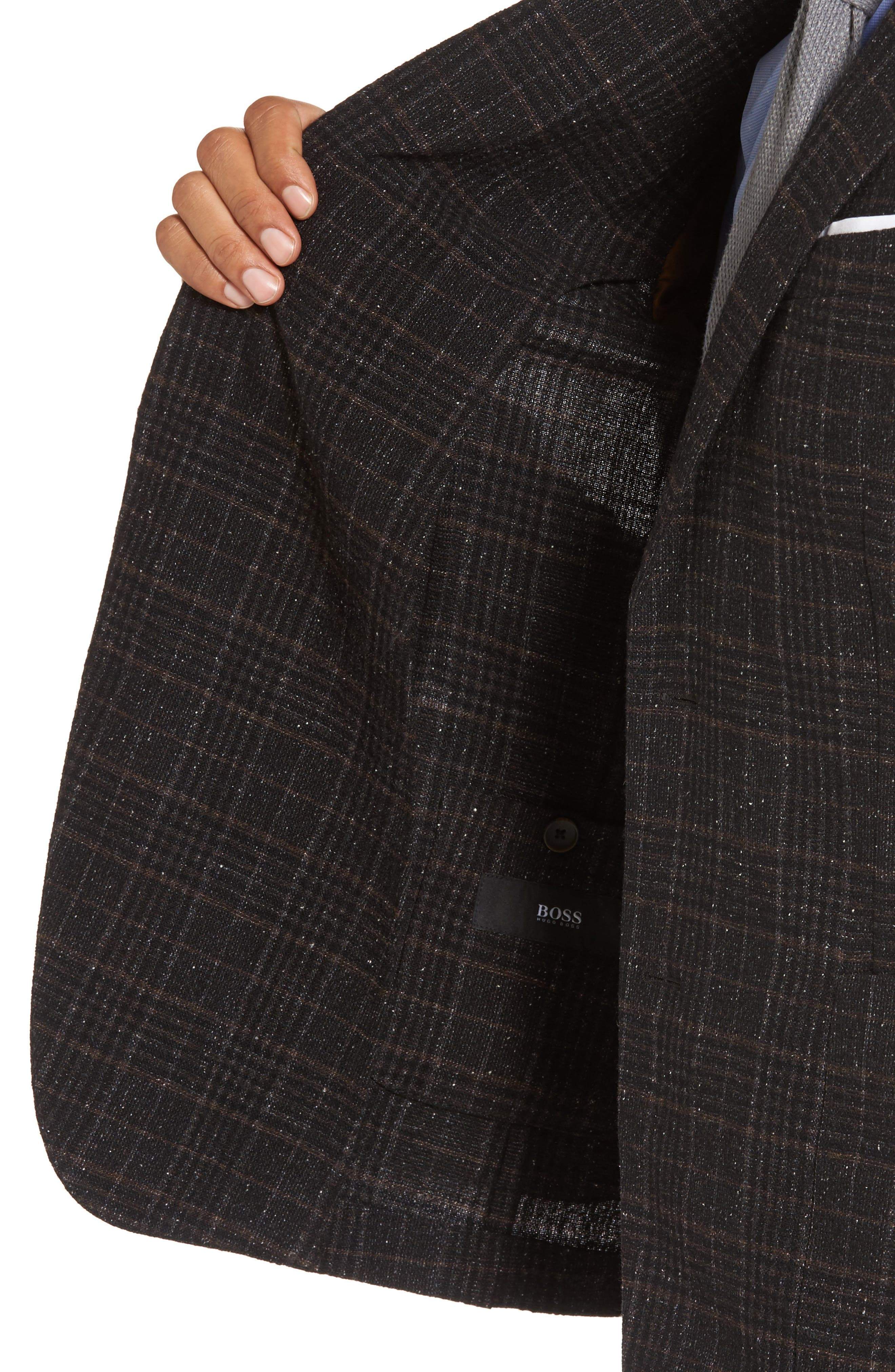 Nold Trim Fit Plaid Wool Blend Sport Coat,                             Alternate thumbnail 4, color,                             202