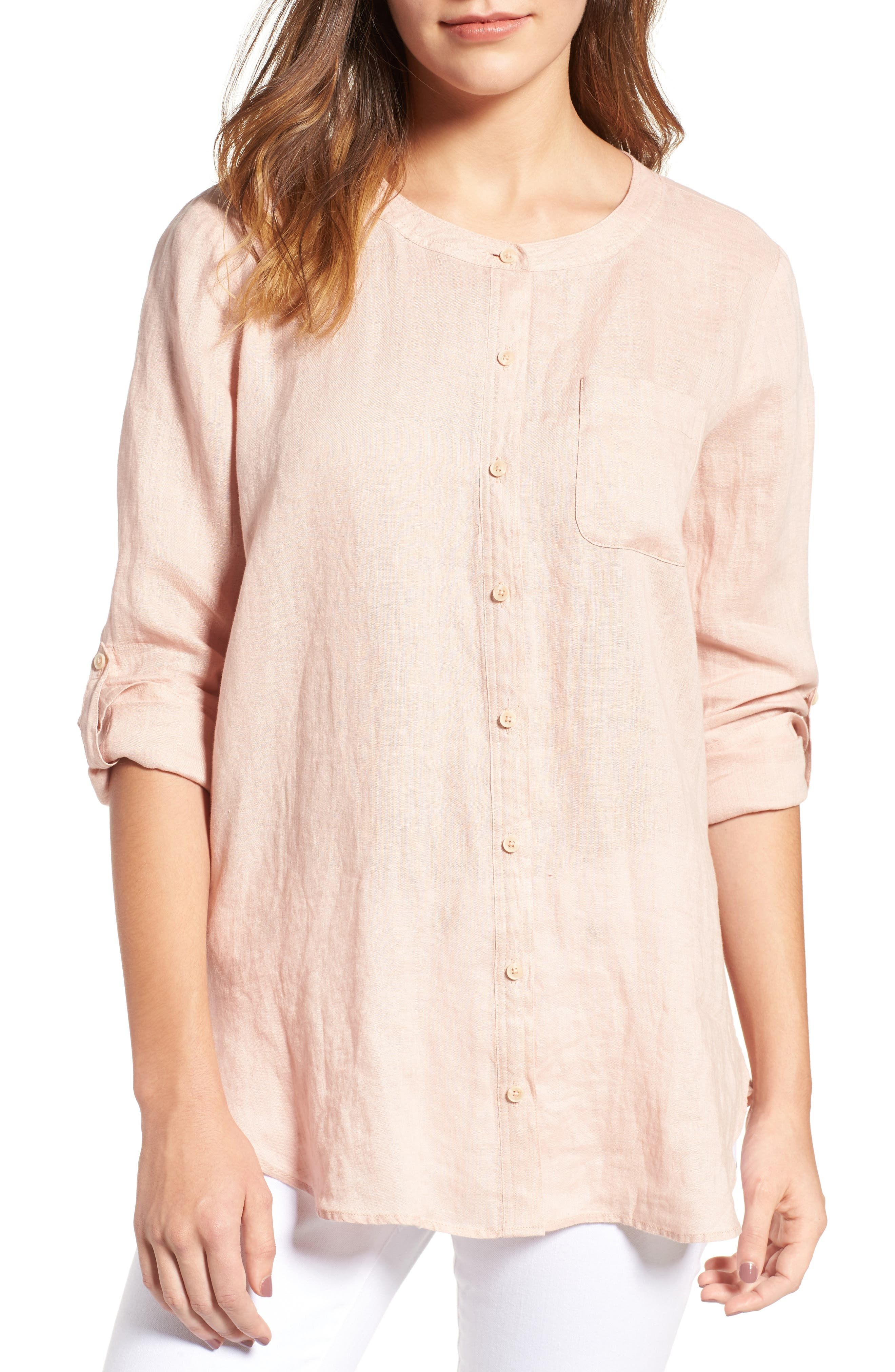 Two by Vince Camuto Collarless Linen Shirt,                             Main thumbnail 5, color,