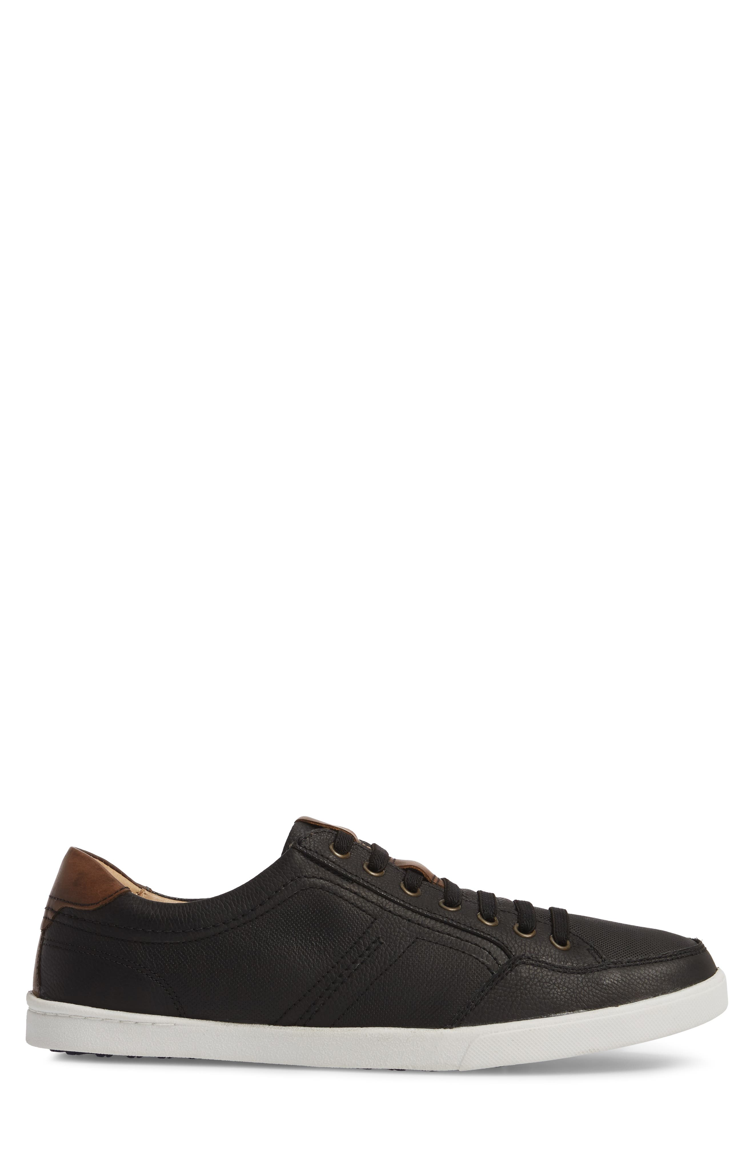 Quinton Textured Low Top Sneaker,                             Alternate thumbnail 3, color,                             BLACK LEATHER