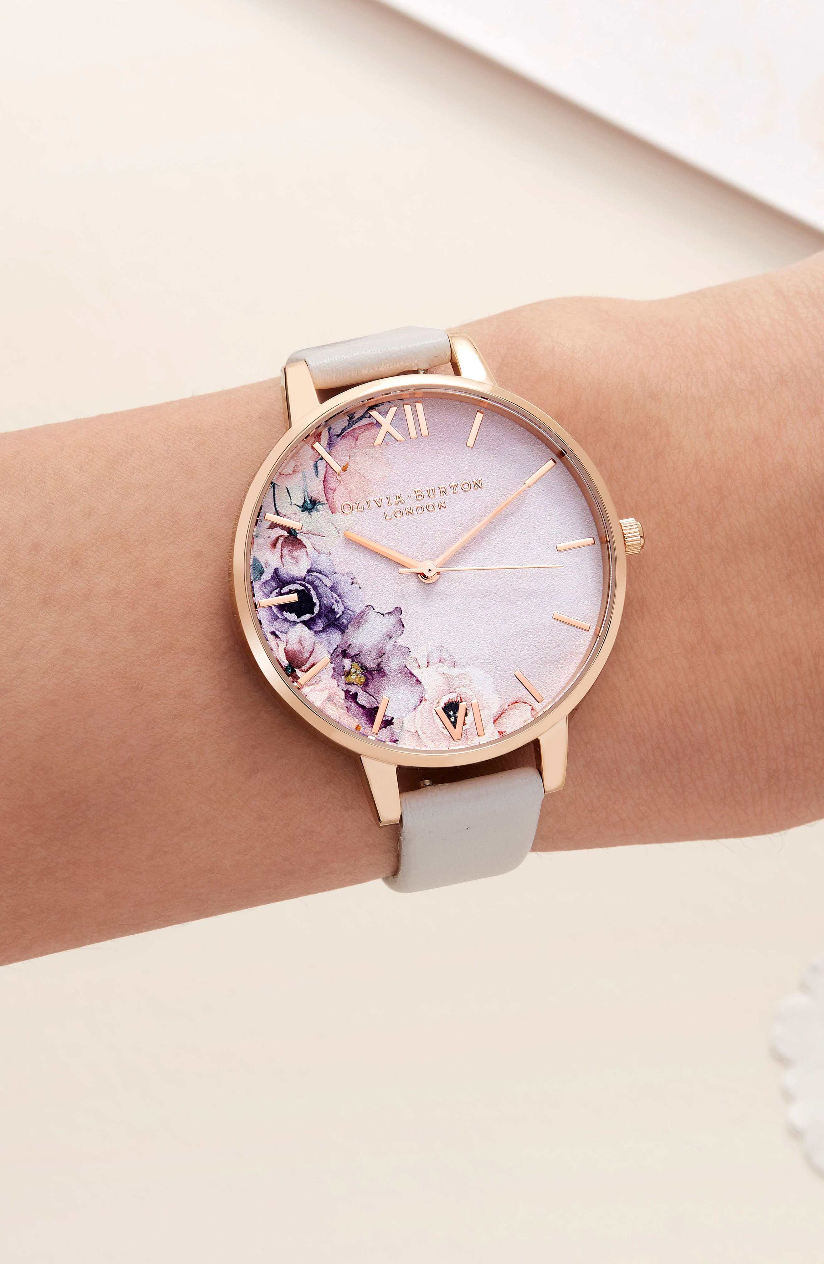 Watercolour Florals Leather Strap Watch, 38mm,                             Alternate thumbnail 2, color,                             BLUSH/ FLORAL/ ROSE GOLD