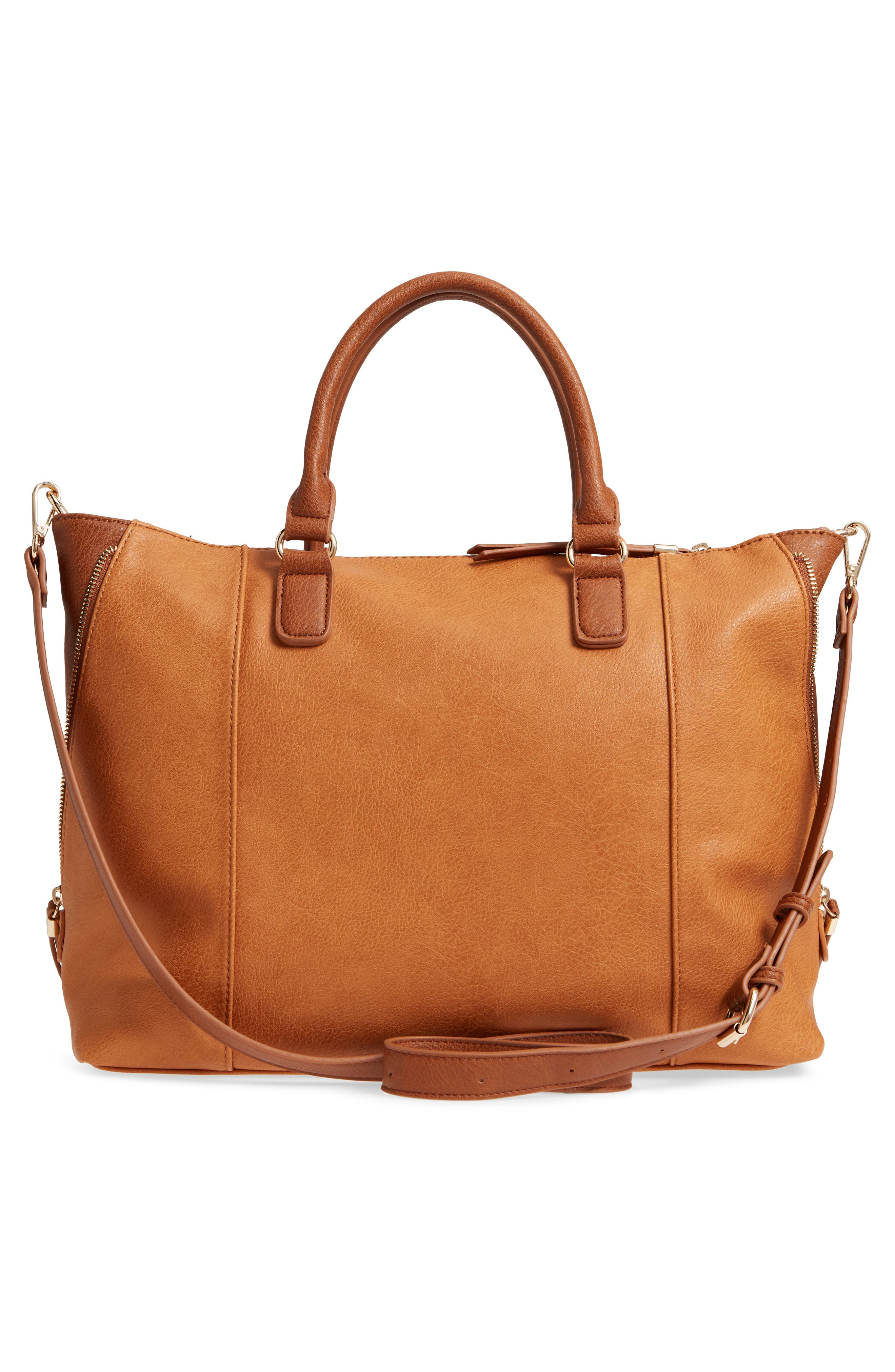 Buckle Faux Leather Tote,                             Alternate thumbnail 3, color,                             234