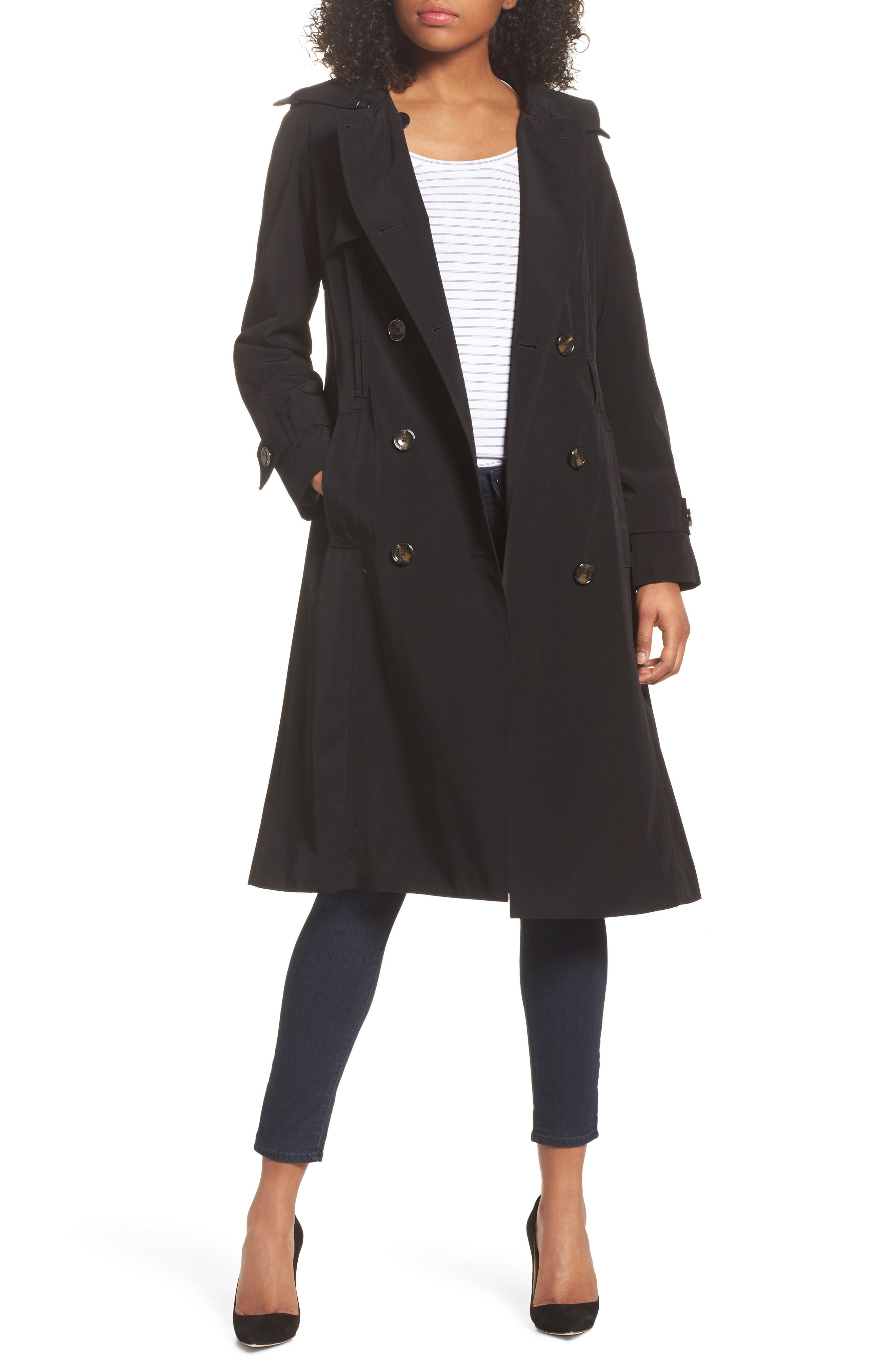 Long Double Breasted Trench Coat,                         Main,                         color, BLACK