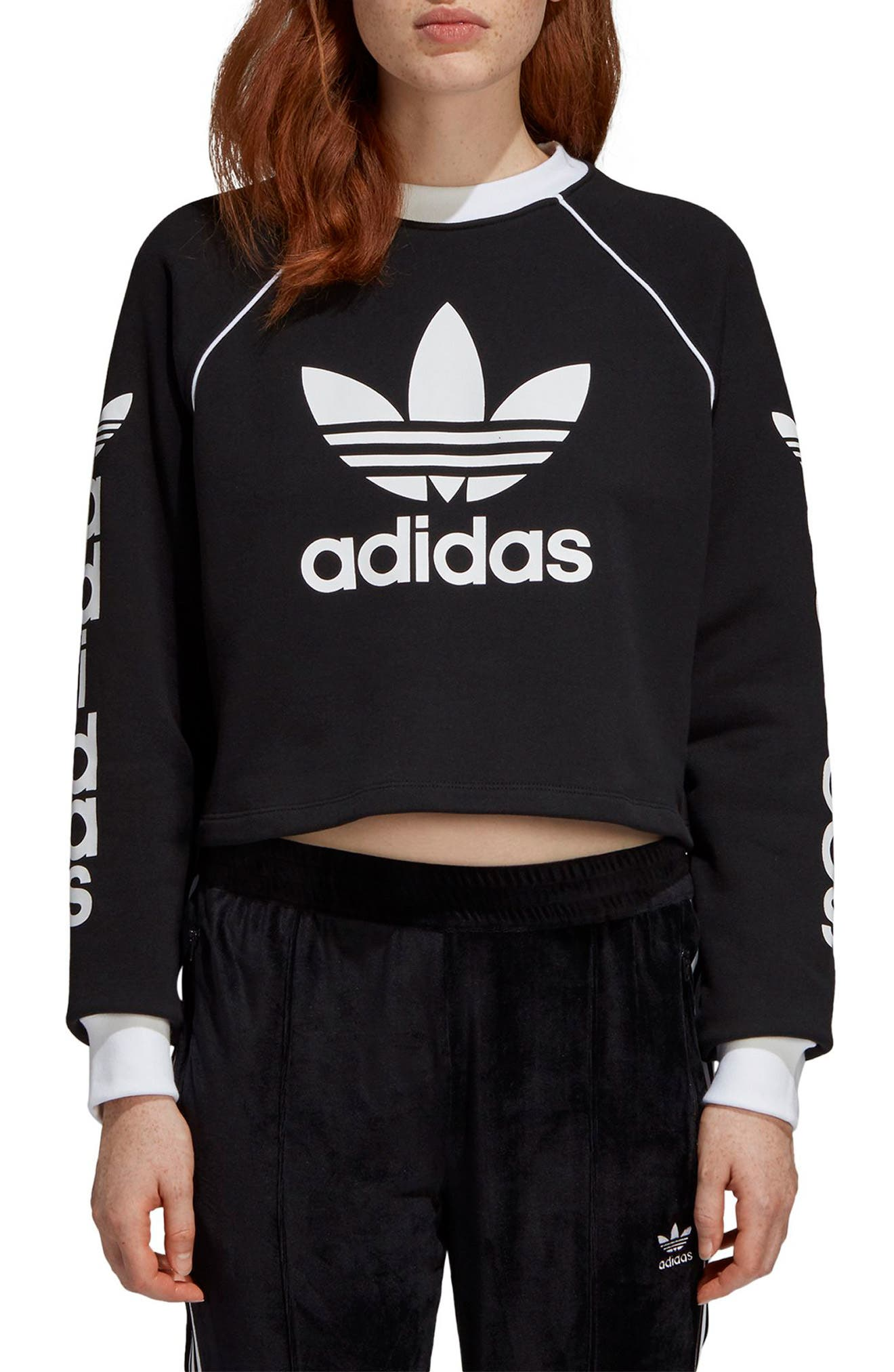Originals Crop Sweatshirt, Main, color, BLACK