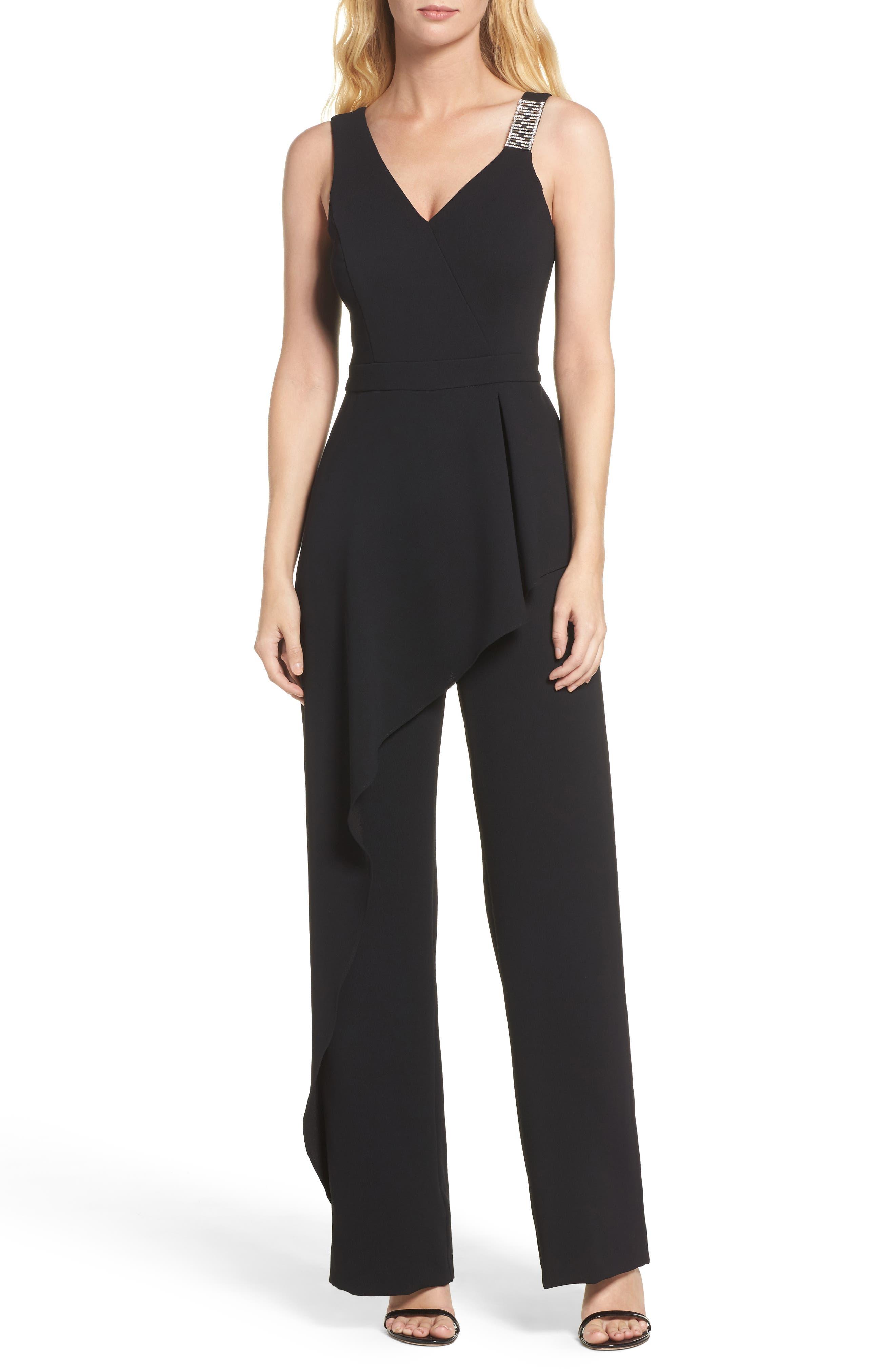 Crepe Jumpsuit,                         Main,                         color, BLACK