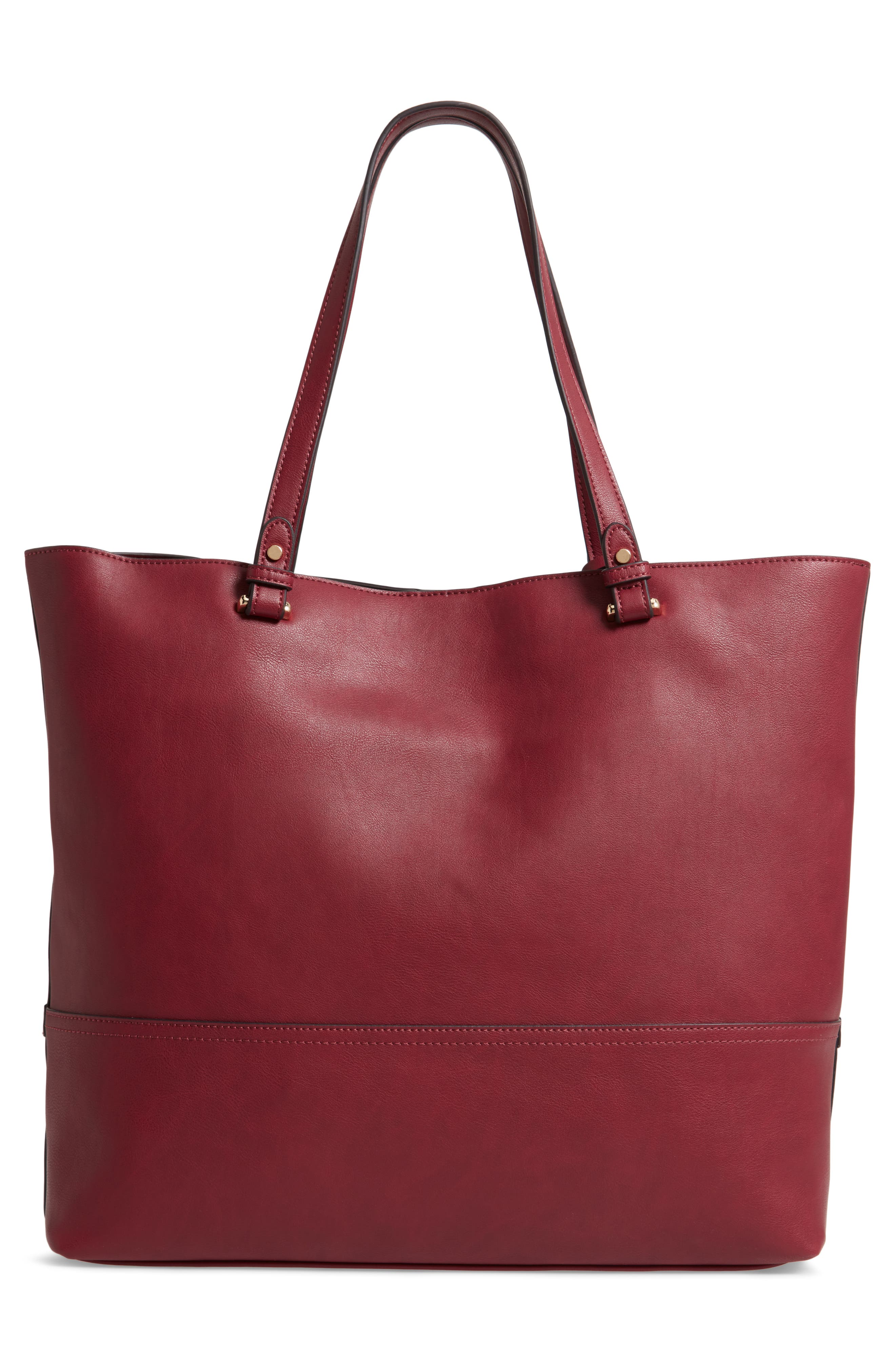 Oversize Faux Leather Tote,                             Alternate thumbnail 3, color,                             BERRY