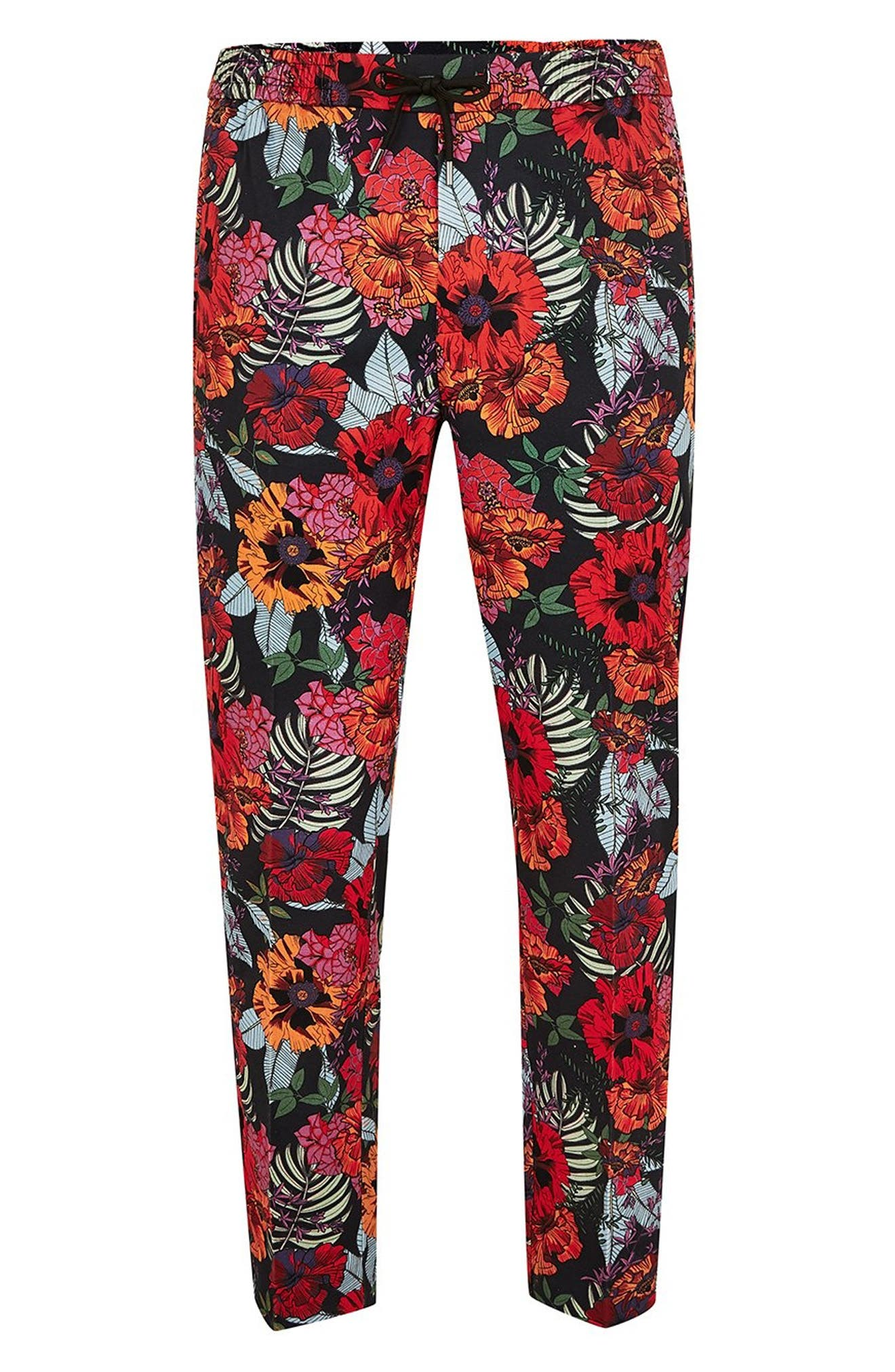 Topshop Floral Jogger Pants,                             Alternate thumbnail 4, color,                             RED MULTI
