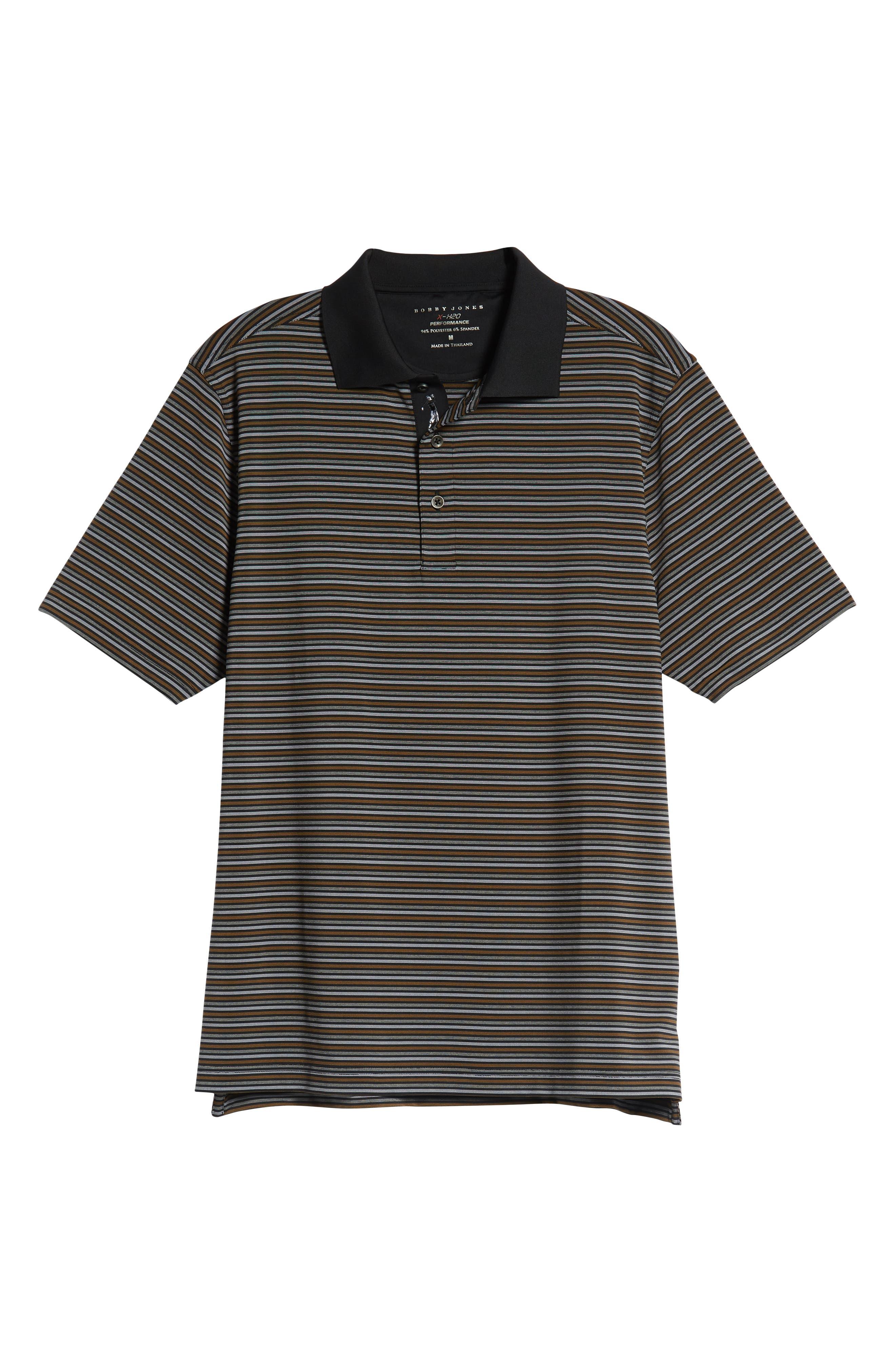 XH2O Copper Stripe Classic Polo,                             Alternate thumbnail 6, color,                             BLACK