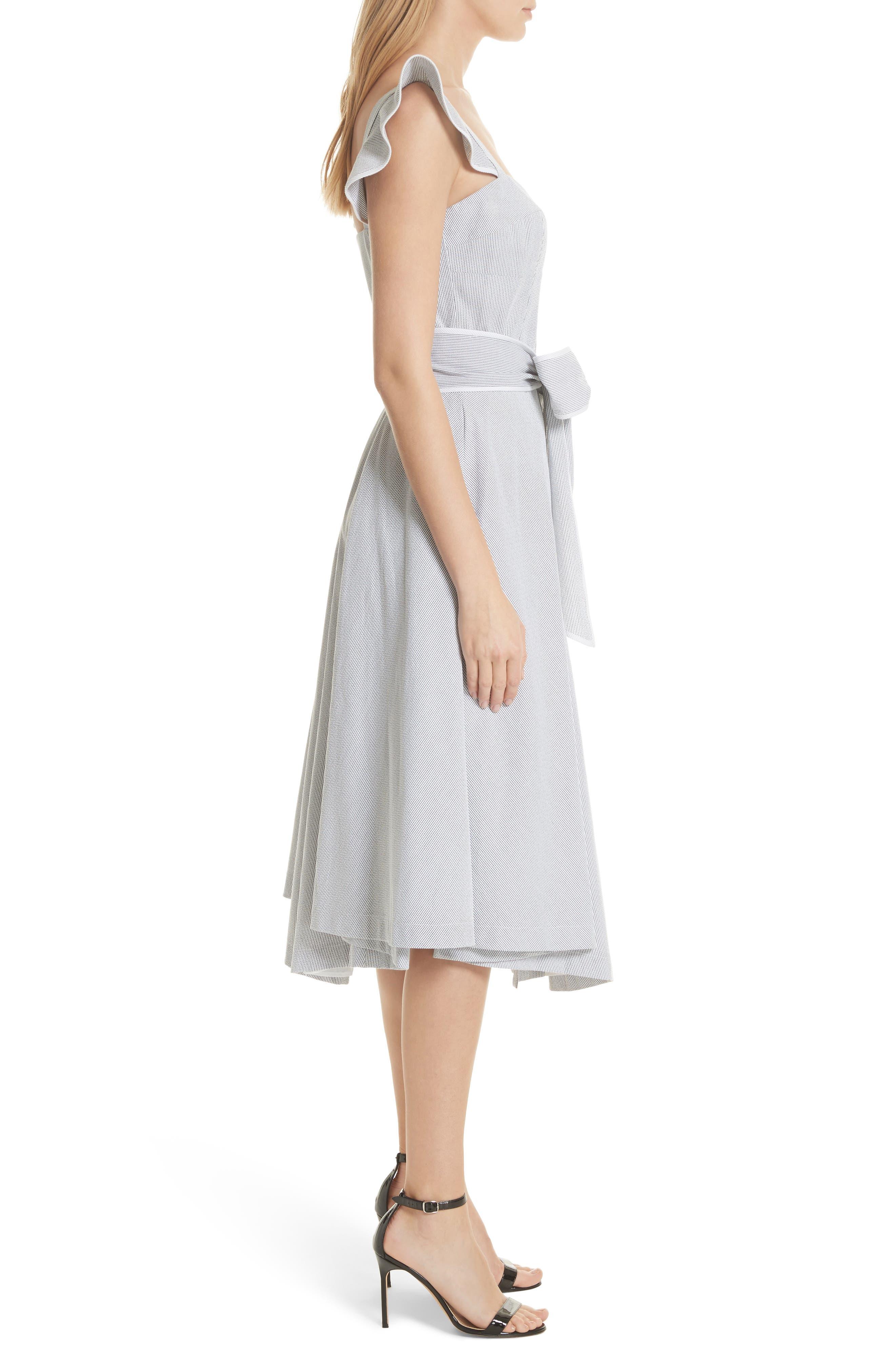 Ruffle Seersucker A-Line Dress,                             Alternate thumbnail 3, color,                             001